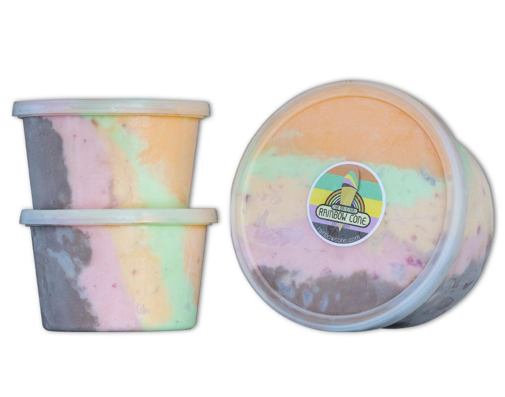 The Original Rainbow Cone ® - Chocolate / Strawberry / Palmer House / Pistachio / Orange SherbetPint // $6.79Quart // $11.29