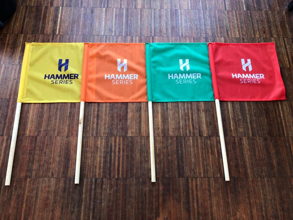 Colour-coded Hammer Series race commissaires' flags
