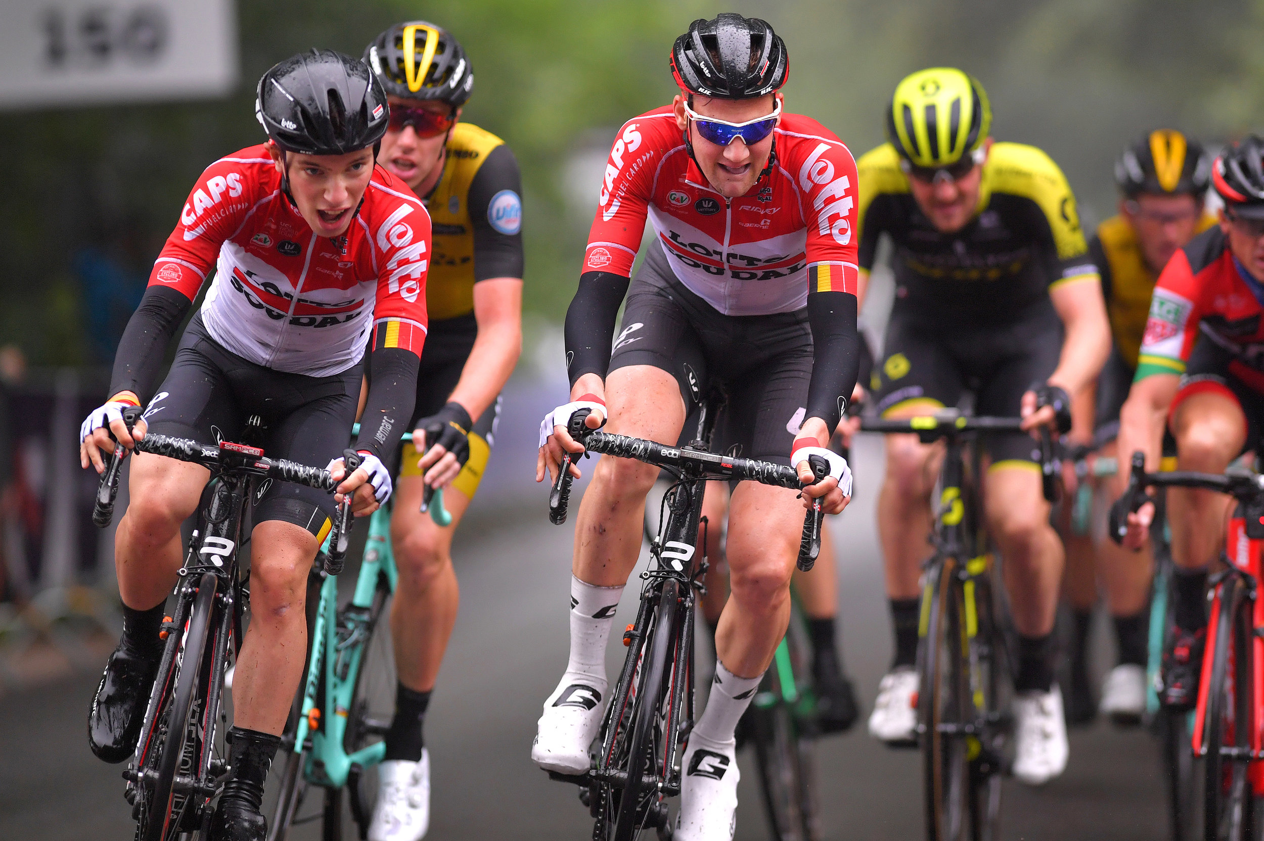 Tim Wellens, centre, with Bjorg Lambrecht at Hammer Limburg in 2018 (Getty Images)