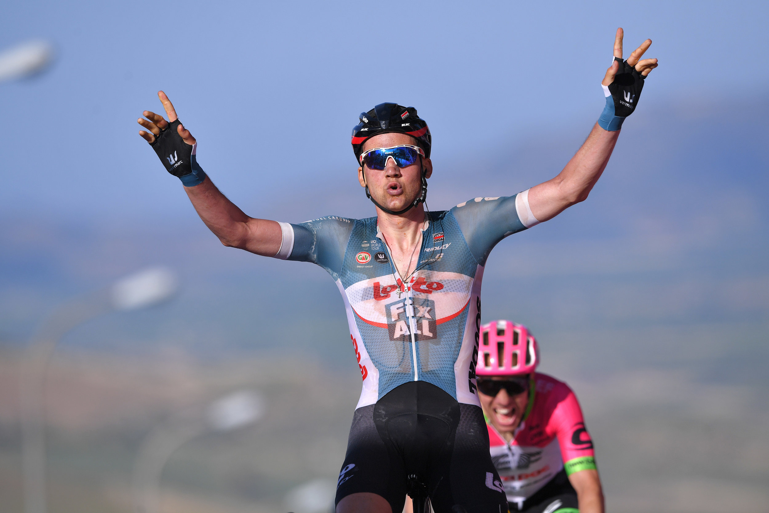 Celebrating a Giro d'Italia stage win in 2018 (Getty Images)