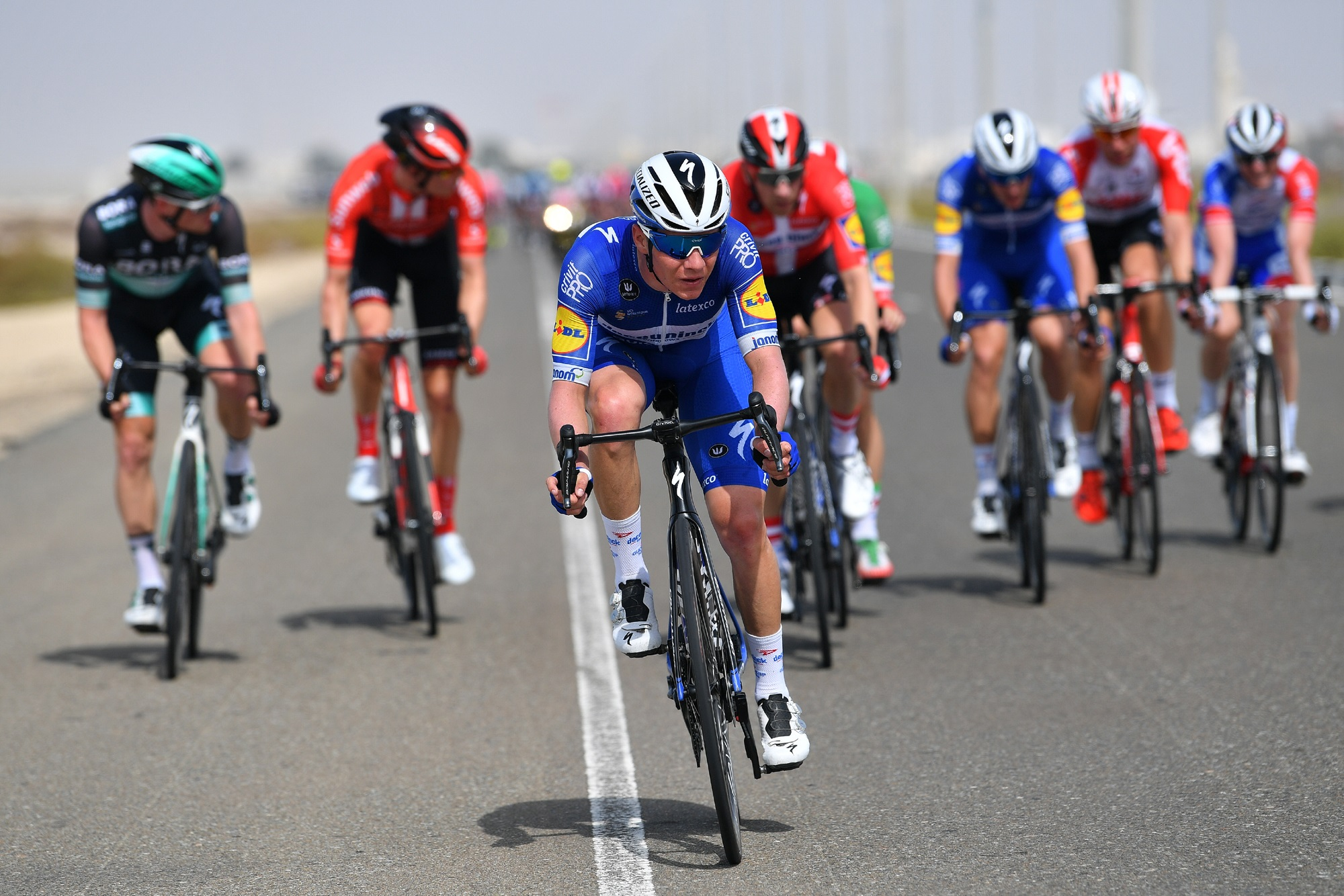 Hard werken in de waaier in de UAE Tour (Getty Images)