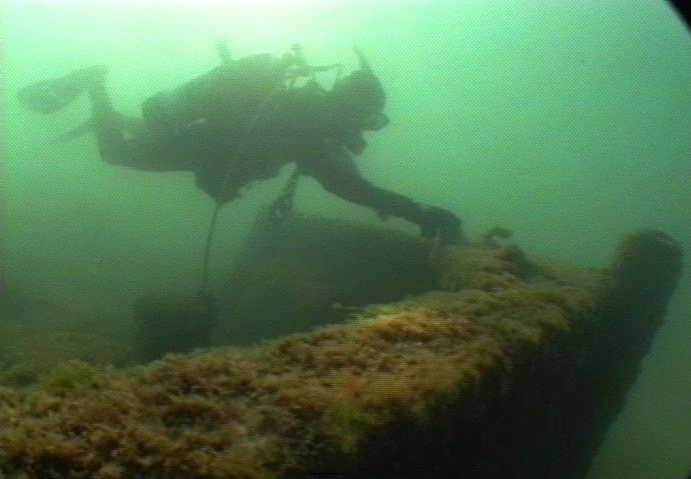 A diver visits the bow of the  Novadoc.