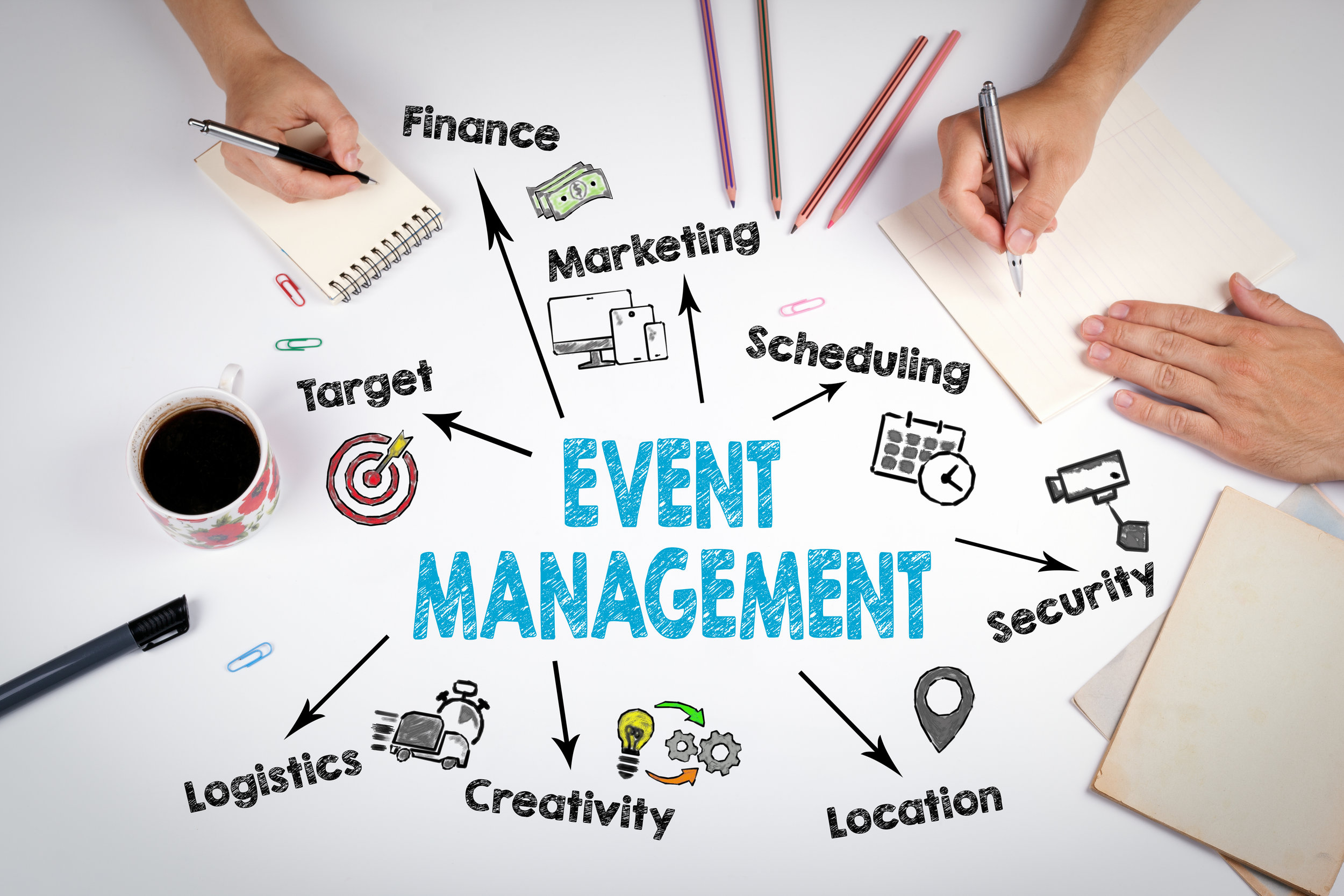 Event management Concept. The meeting at the white office table.