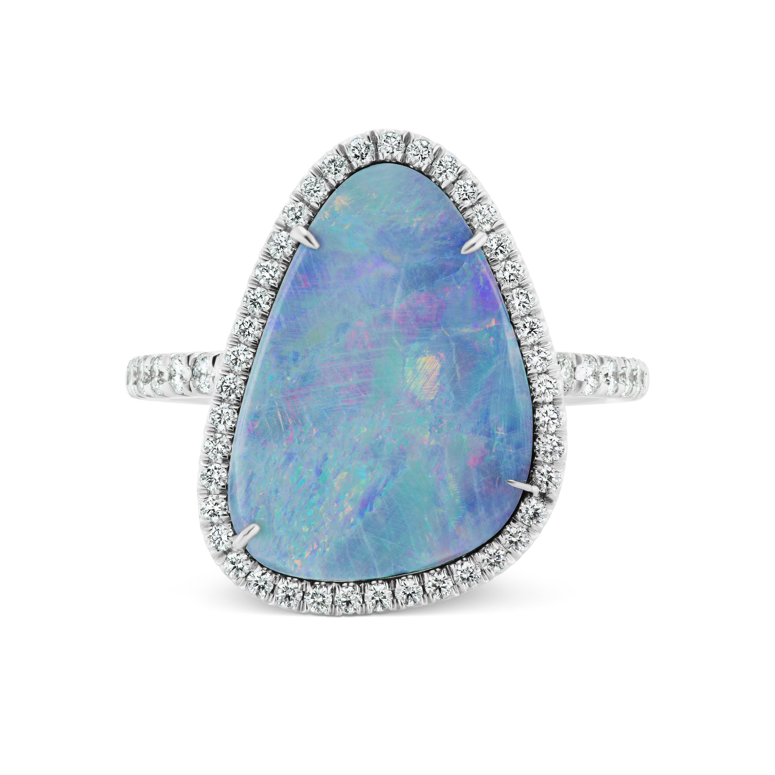 Boulder opal ring with micropavé diamond trim and band, mounted in platinum.