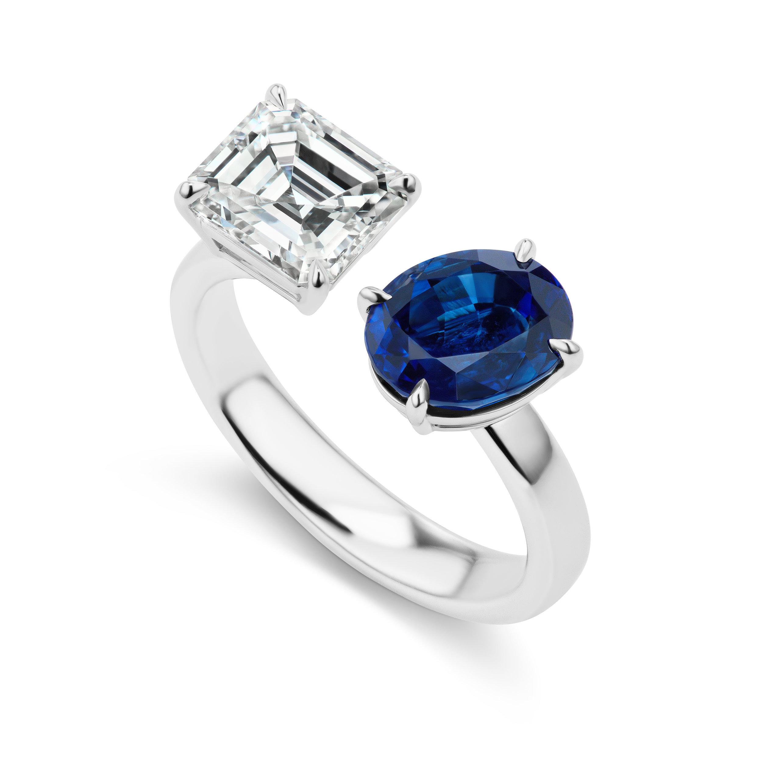 Asscher cut diamond and sapphire open ring, mounted in platinum.