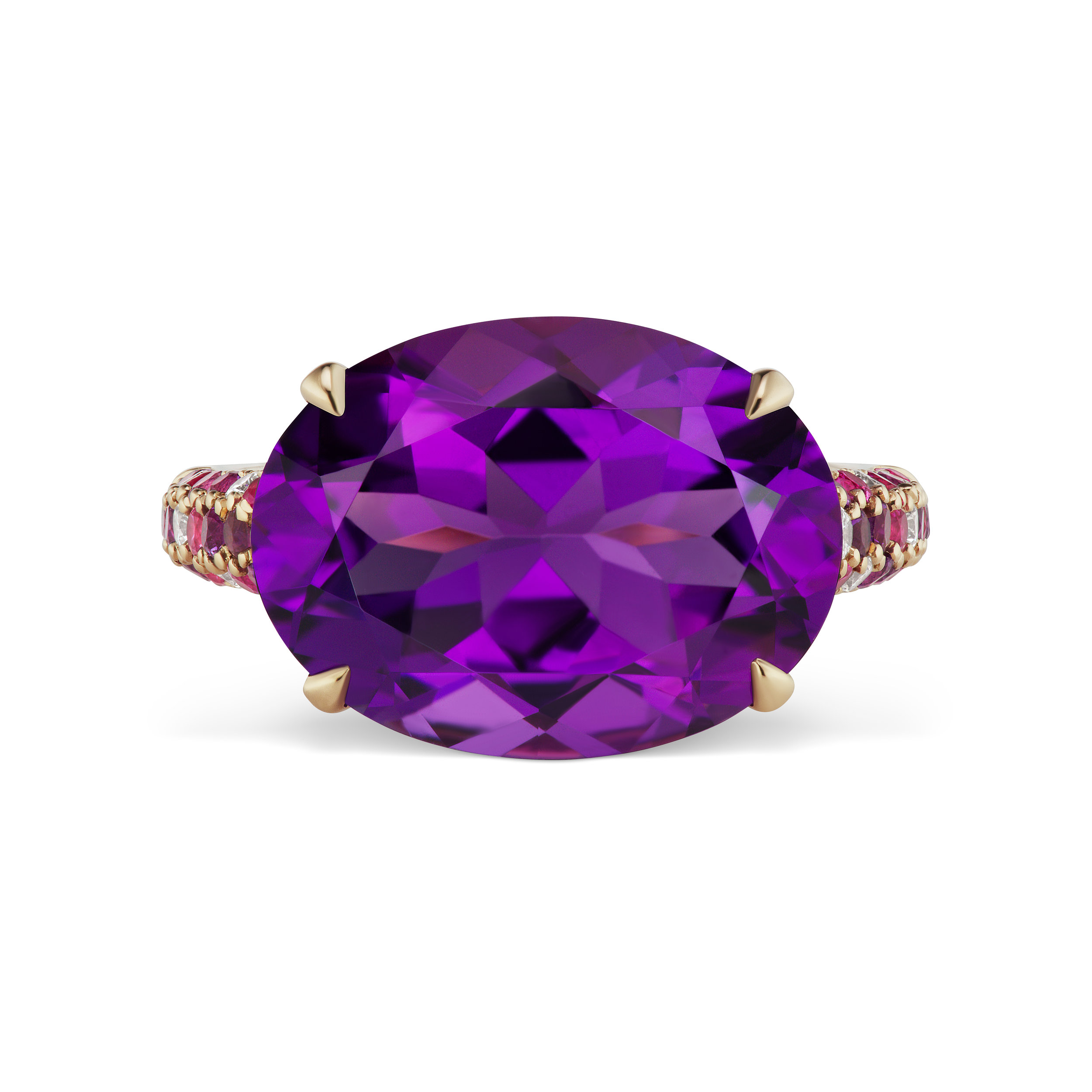 Amethyst ring with diamond and pink sapphire band, mounted in yellow gold.