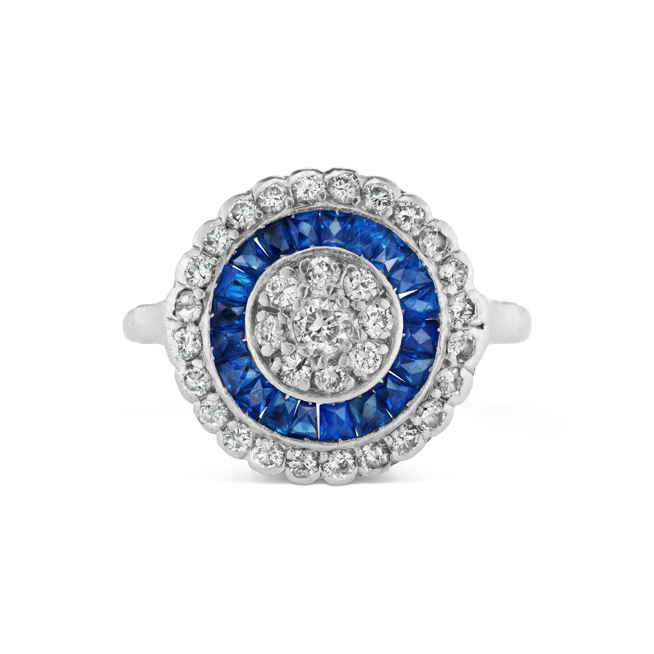 Antique-inspired diamond and sapphire ring.