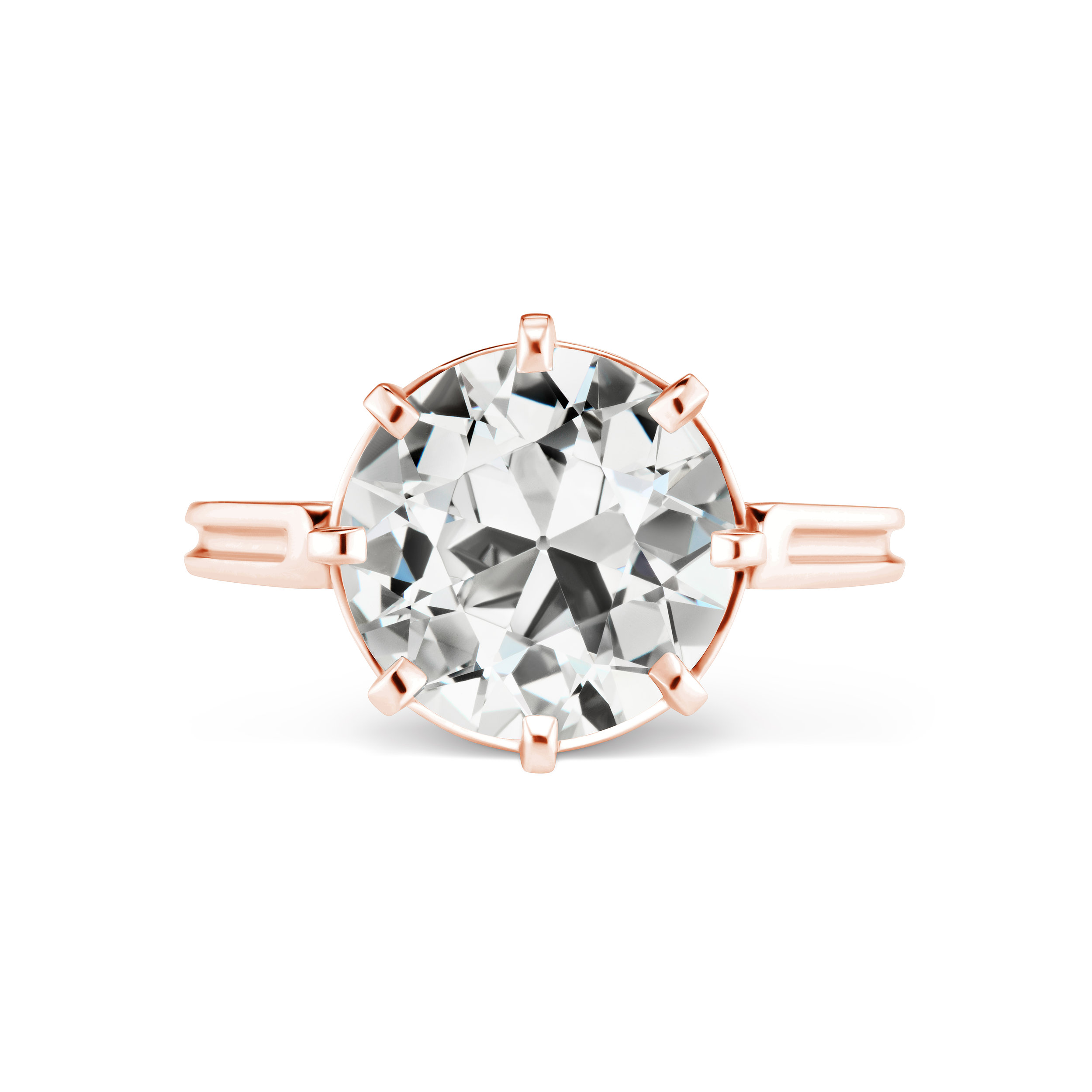 Reproduction of antique diamond ring, with Old European Cut diamond, mounted in rose gold.