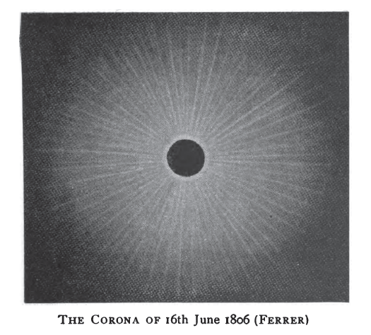 Ferrer's subsequent illustrations of eclipse coronas featured a lime, for some unknown reason. (Wikimedia Commons)