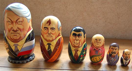 They're nesting dolls! From left to right: Mikhail Gorbachev, Leonid Brezhnev, Nikita Khrushchev and Joseph Stalin. (NPR/KoS via Wikimedia Commons)