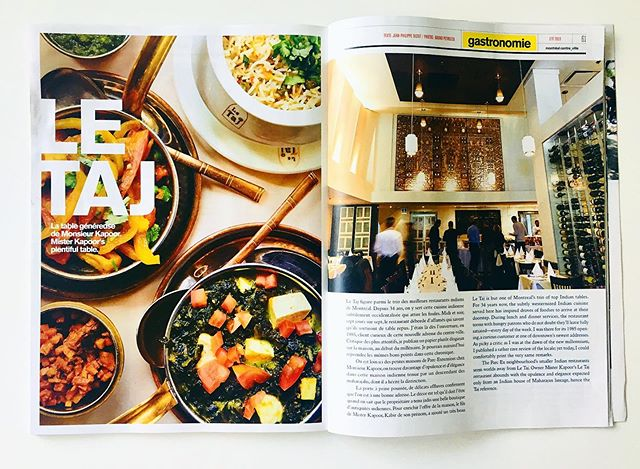 """Le Table Généreuse de Monsieur Kapoor"" 🥘 ""Le Taj has one of the most reliable menus in the city"" 😍🙏🏼 Beautiful review about #LeTaj has been written in the Montreal Centre-Ville print magazine! @tastet.ca  Merci beaucoup à Jean-Philippe de l'équipe Tastet pour la merveilleuse critique de notre restaurant!"
