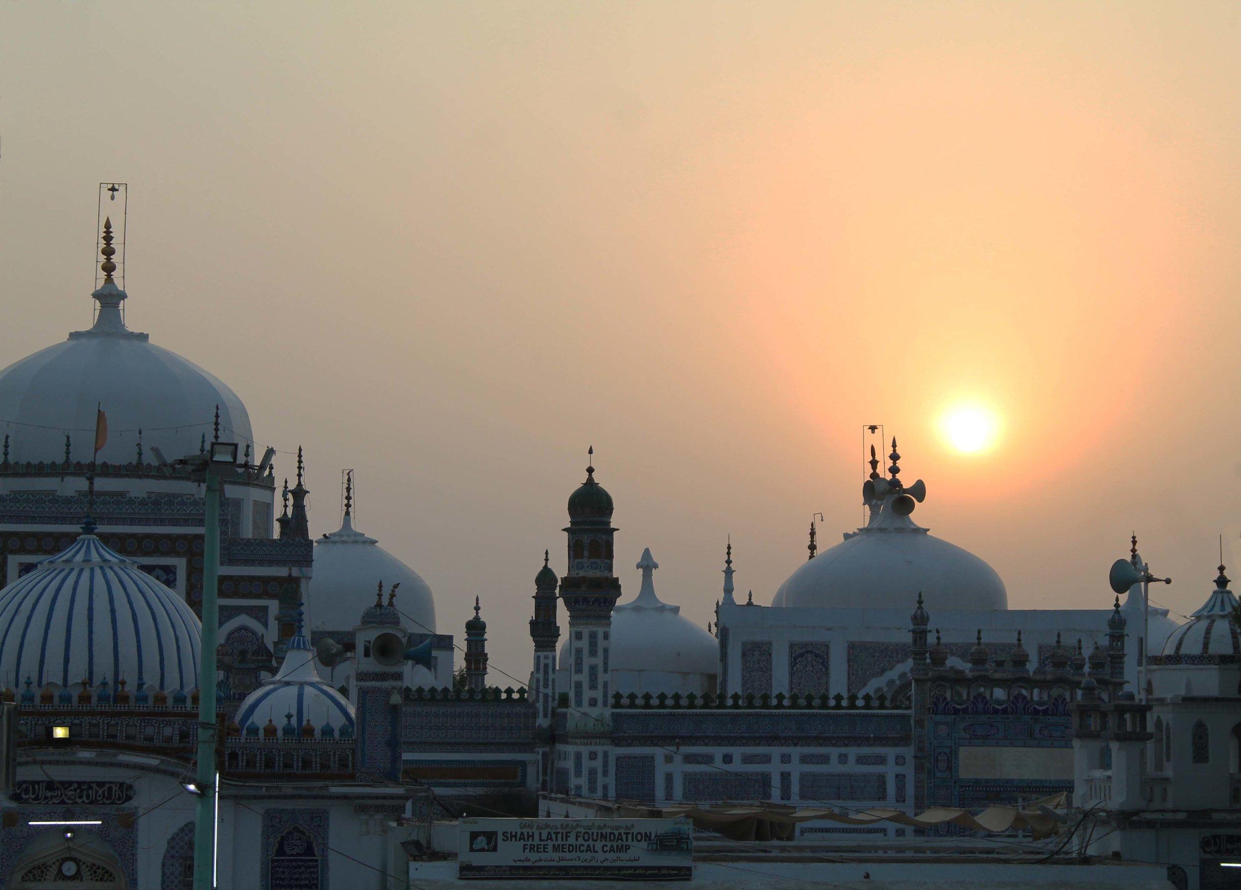 Sunset at the Shrine of Shah Abdul Latif Bhittai in Bhit Shah