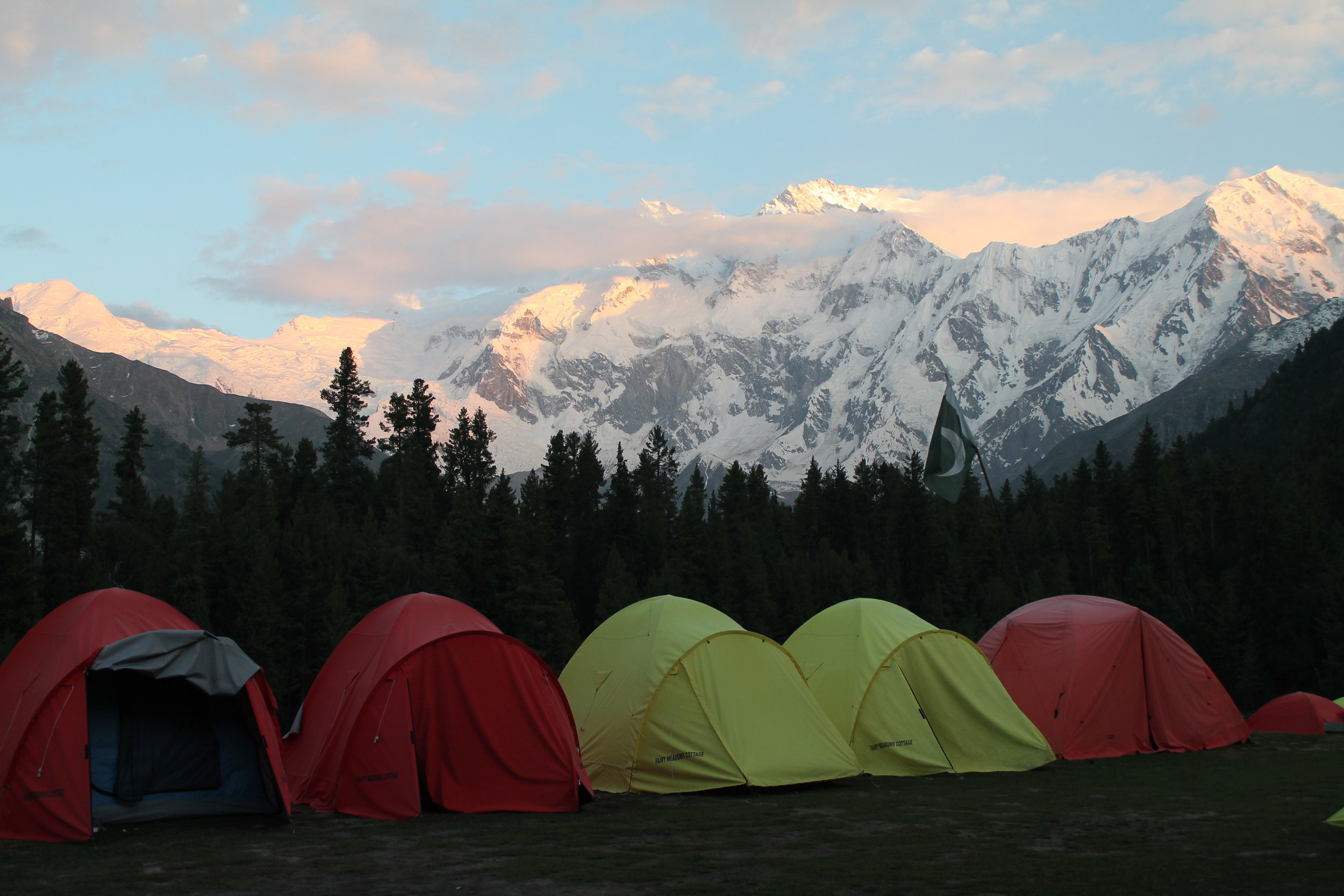 View of Nanga Parbat from our campsite at sunset in Fairy Meadows