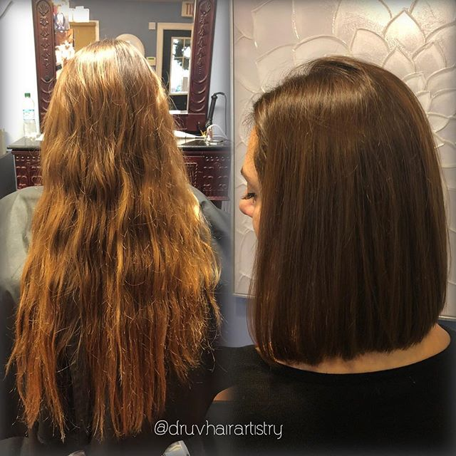 Tis the season for transformations! ❤️💚 @victoriagrace318 @nancylawson1 . . . . . . . #saloninthemills #druvhairartistry #transformationtuesday #beforeandafter #hairtransformation #lobhaircut #lob #shorthairdontcare #shorthair #balayage #bobhaircut #stackedbob
