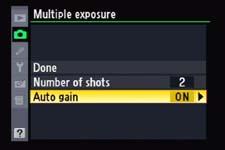 Multiple Exposure Menu on Nikon D90
