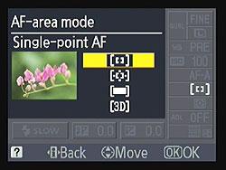 Nikon D3100 AF mode