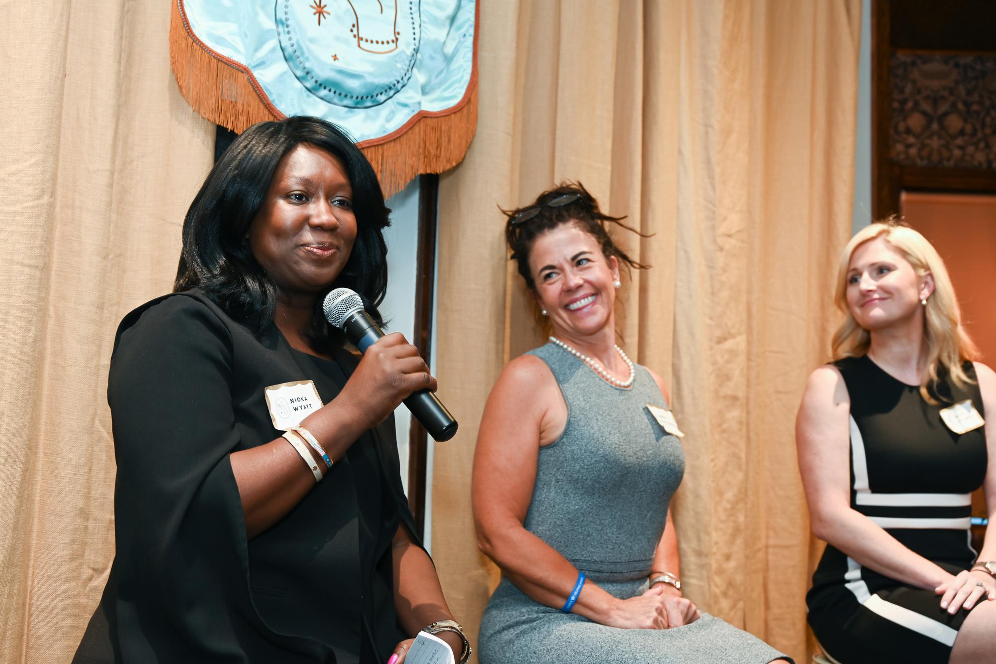 Speaking: Nioka Wyatt, Linda Schellenger, and Kelly Stillwell.