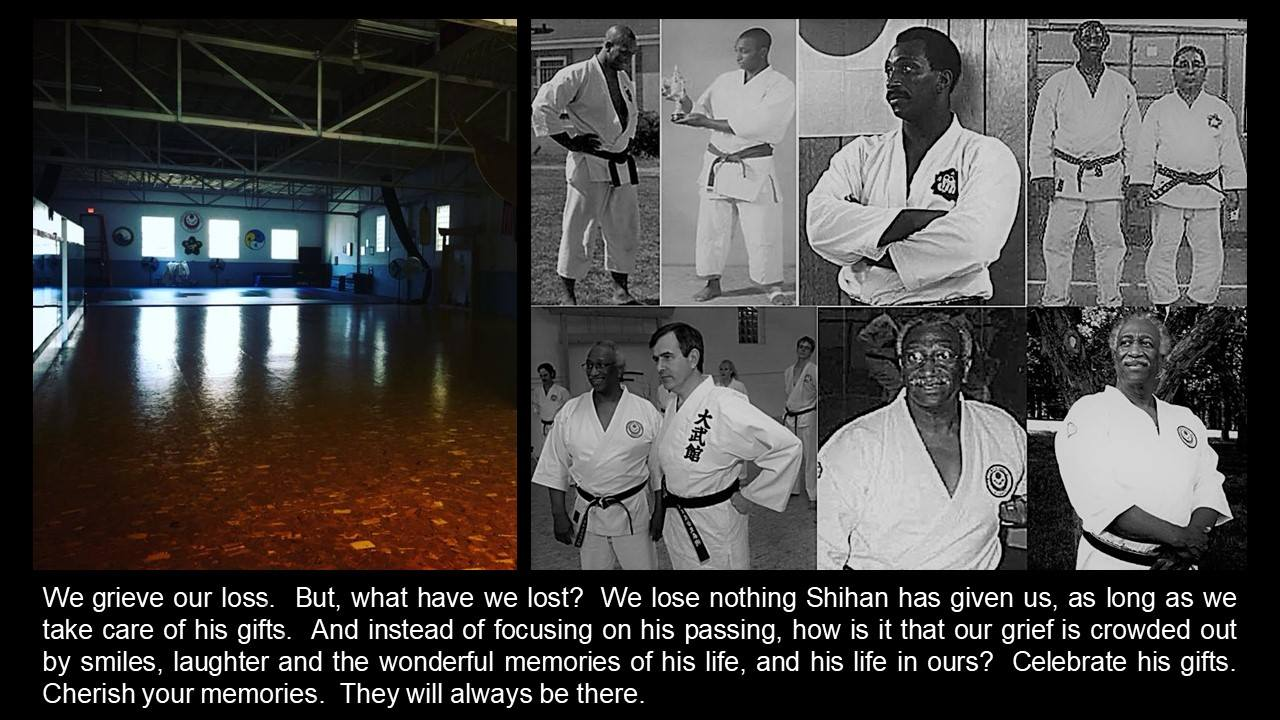 Shihan John Roseberry- The late Shihan Roseberry is posthostumously accepted into the Veteran's Combat Center. Shihan Roseberry was a 10th Degree Black Belt in Goju Ryu Karate, 8th Degree Black Belt in Judo and olympian Judo-ka, 5th Degree Black Belt in Daitoryu Aikijiujitsu, 3rd Degree Black Belt in Aikido, Golden Gloves boxer, and veteran of the USMC Shihan will be missed and remembered.