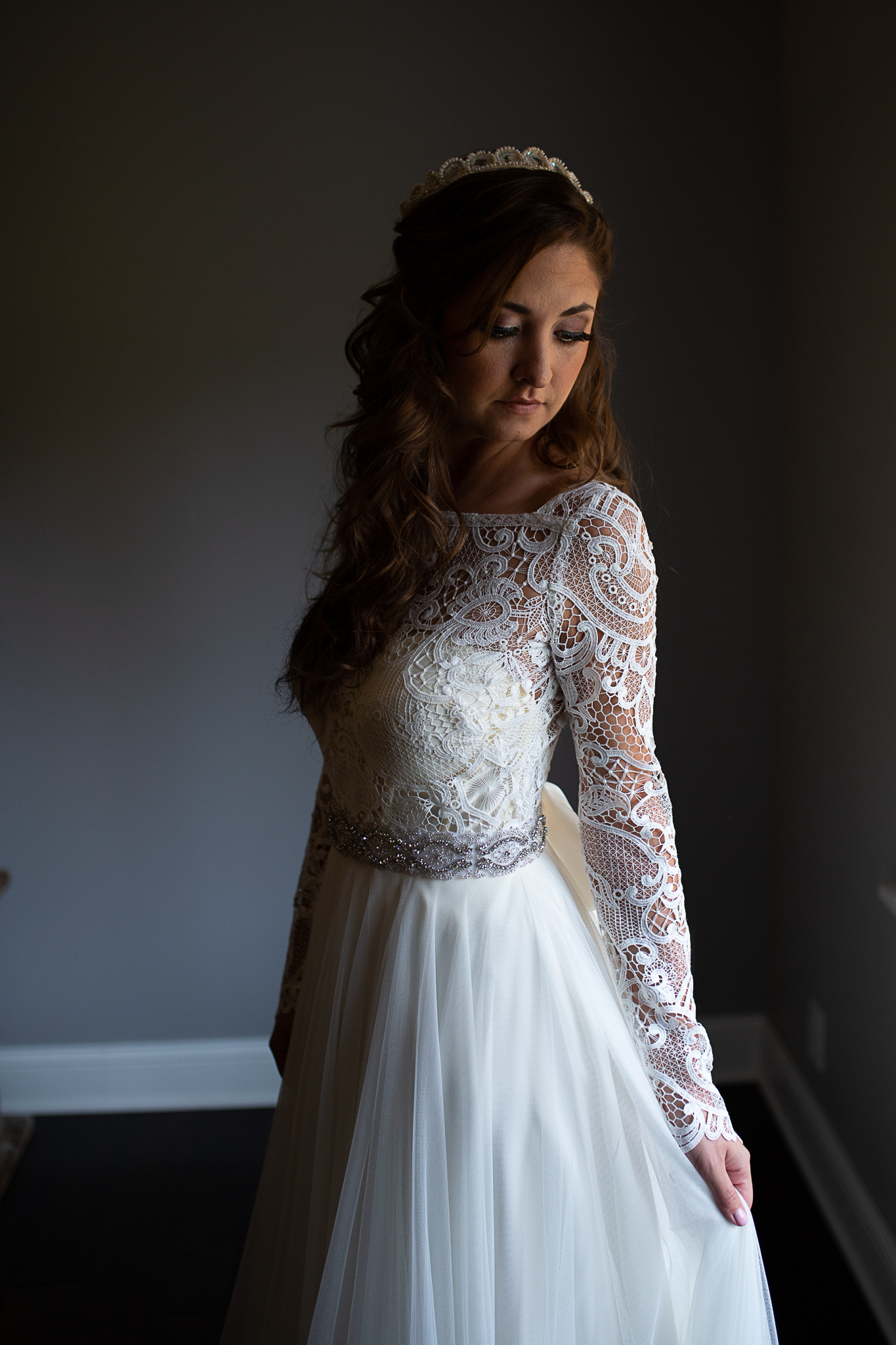 Bride posing after getting ready