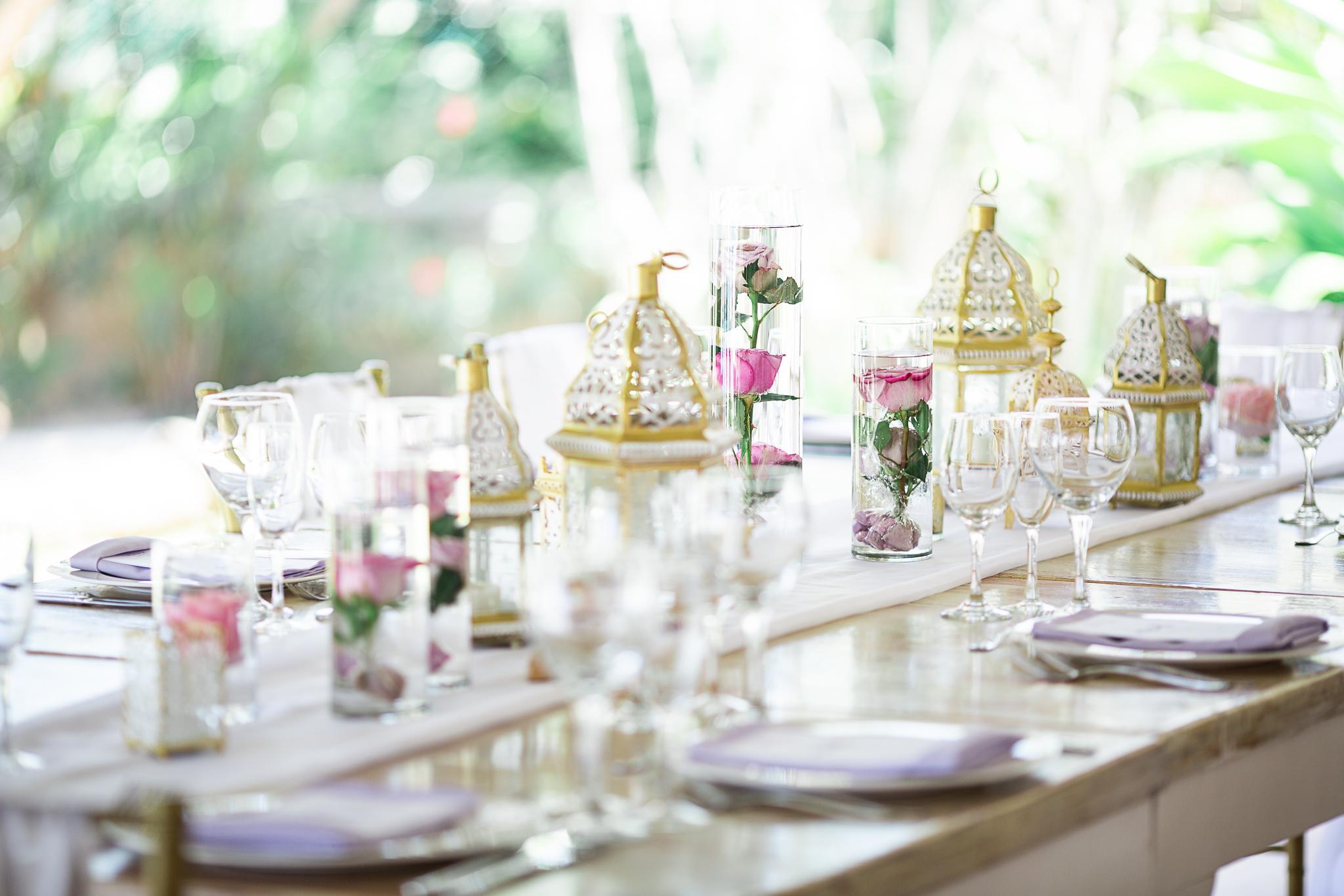 detail shot of reception dinner decorations