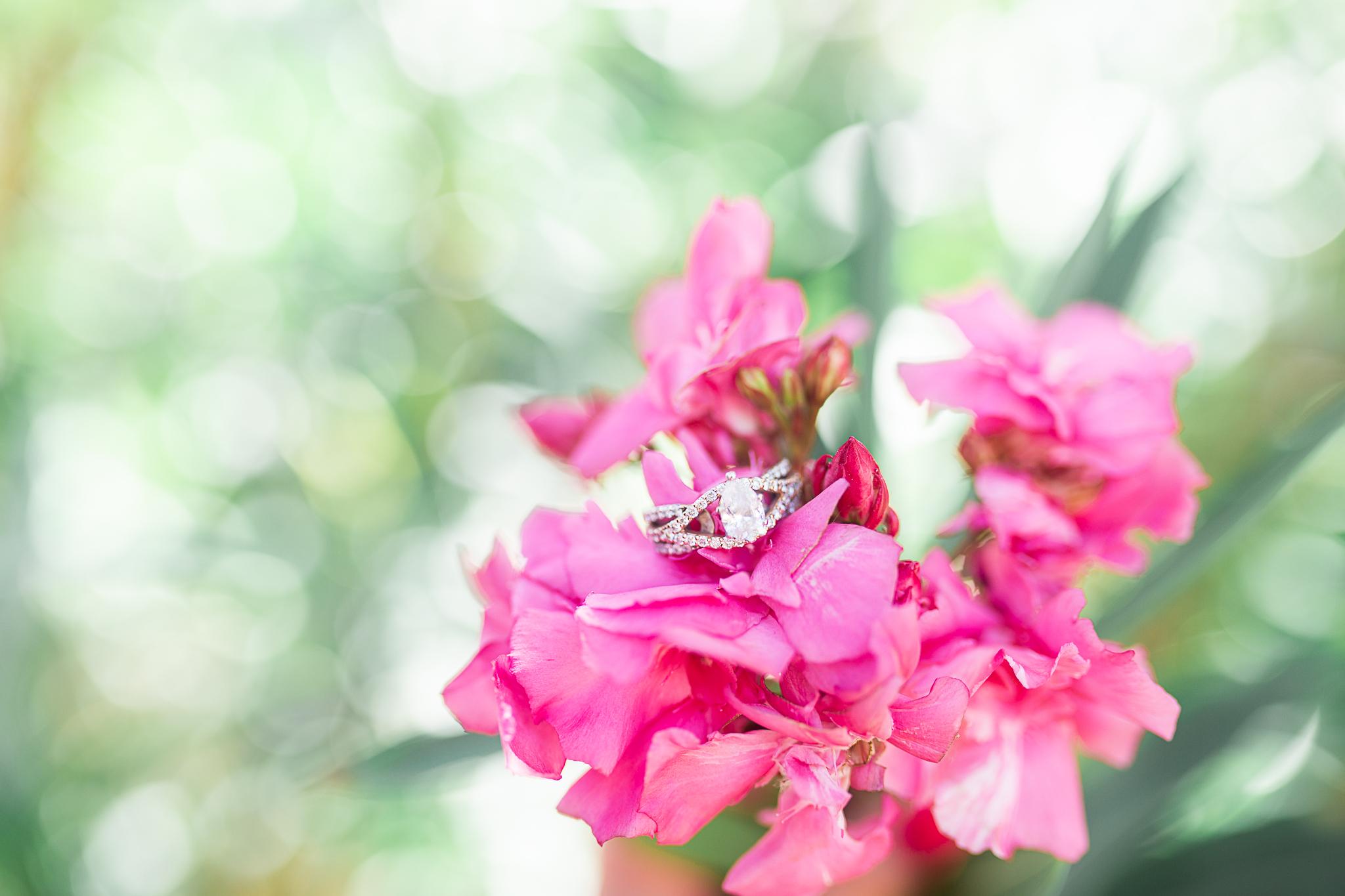 wedding ring detail shot in flowers