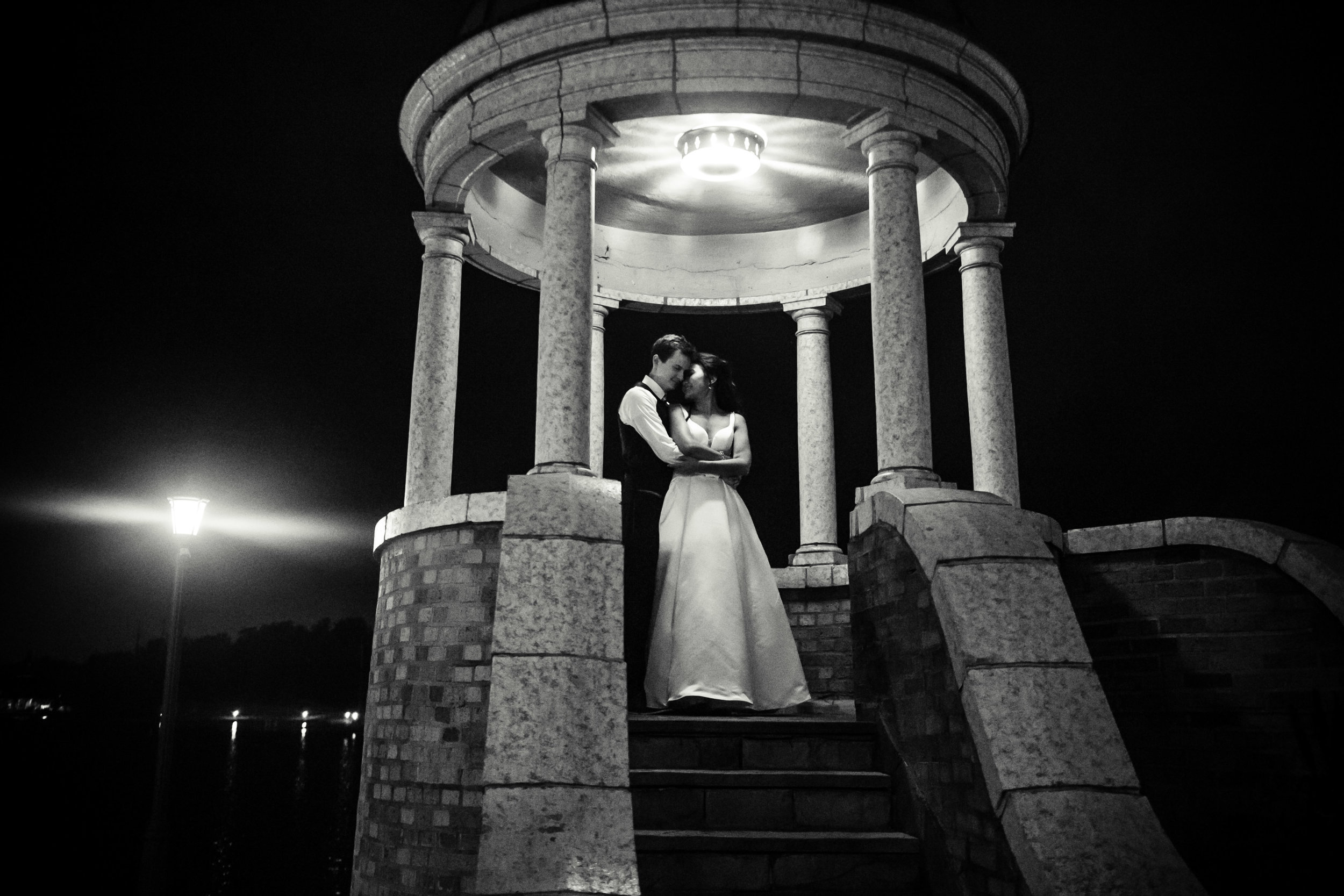 night shot of bride and groom outside