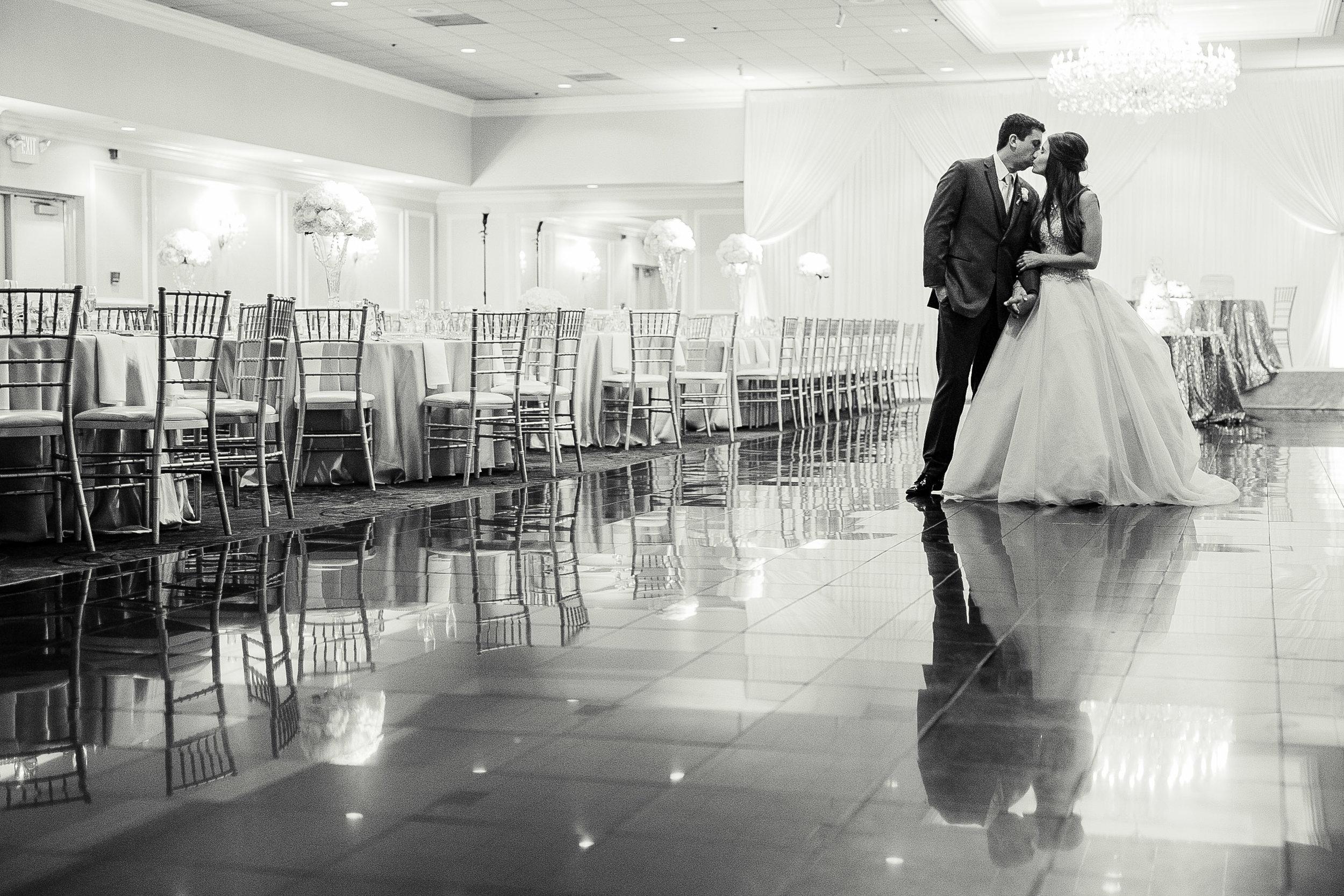 bride and groom in reception area