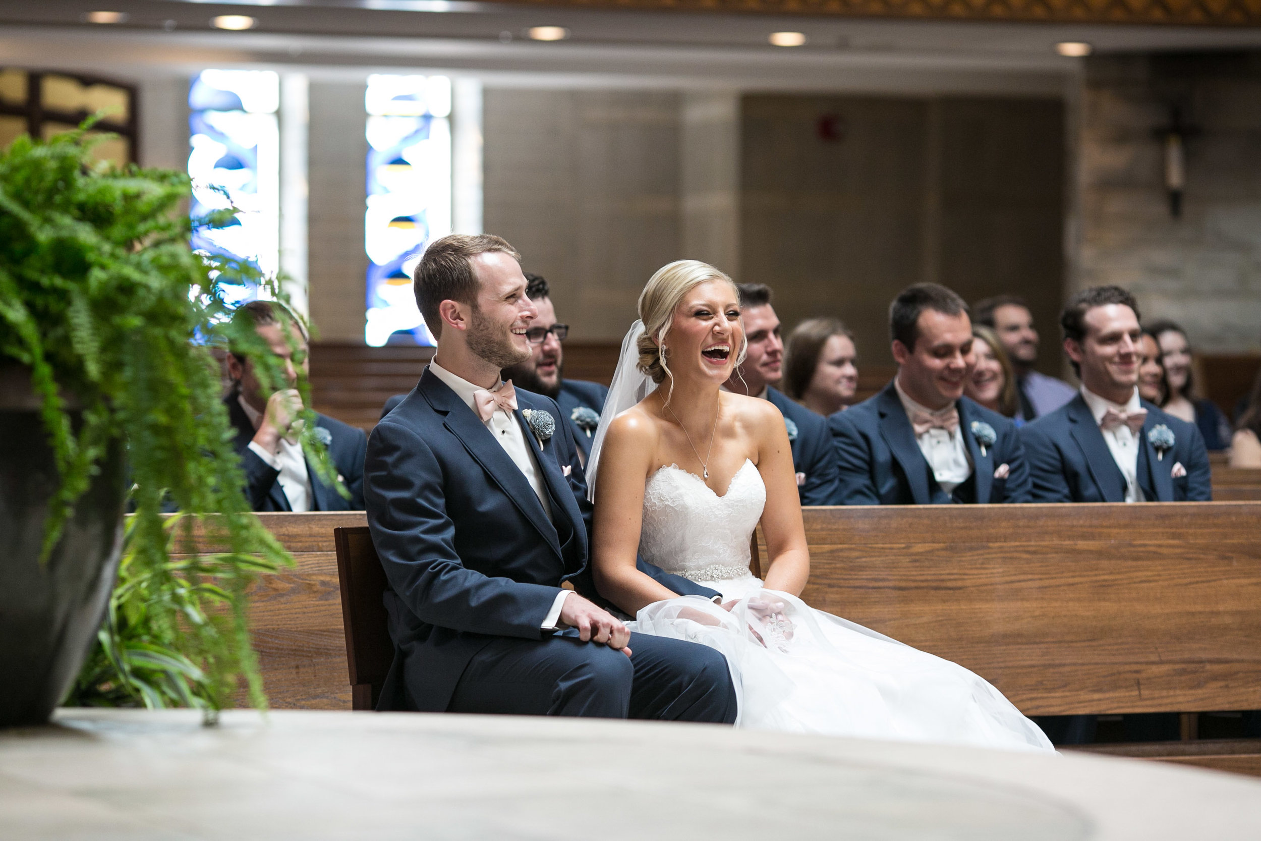 bride and groom during church ceremony