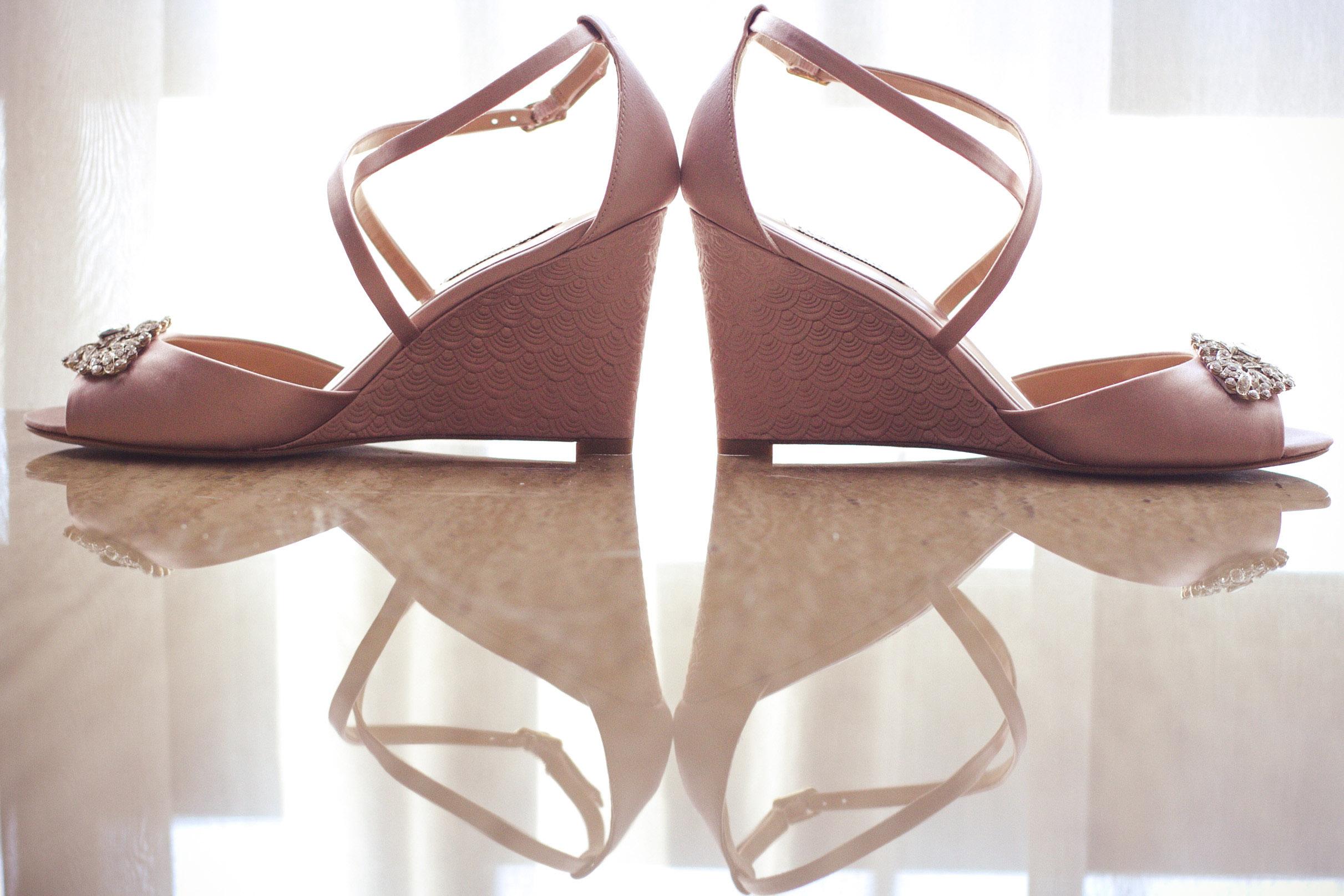detail shot of brides wedding heels