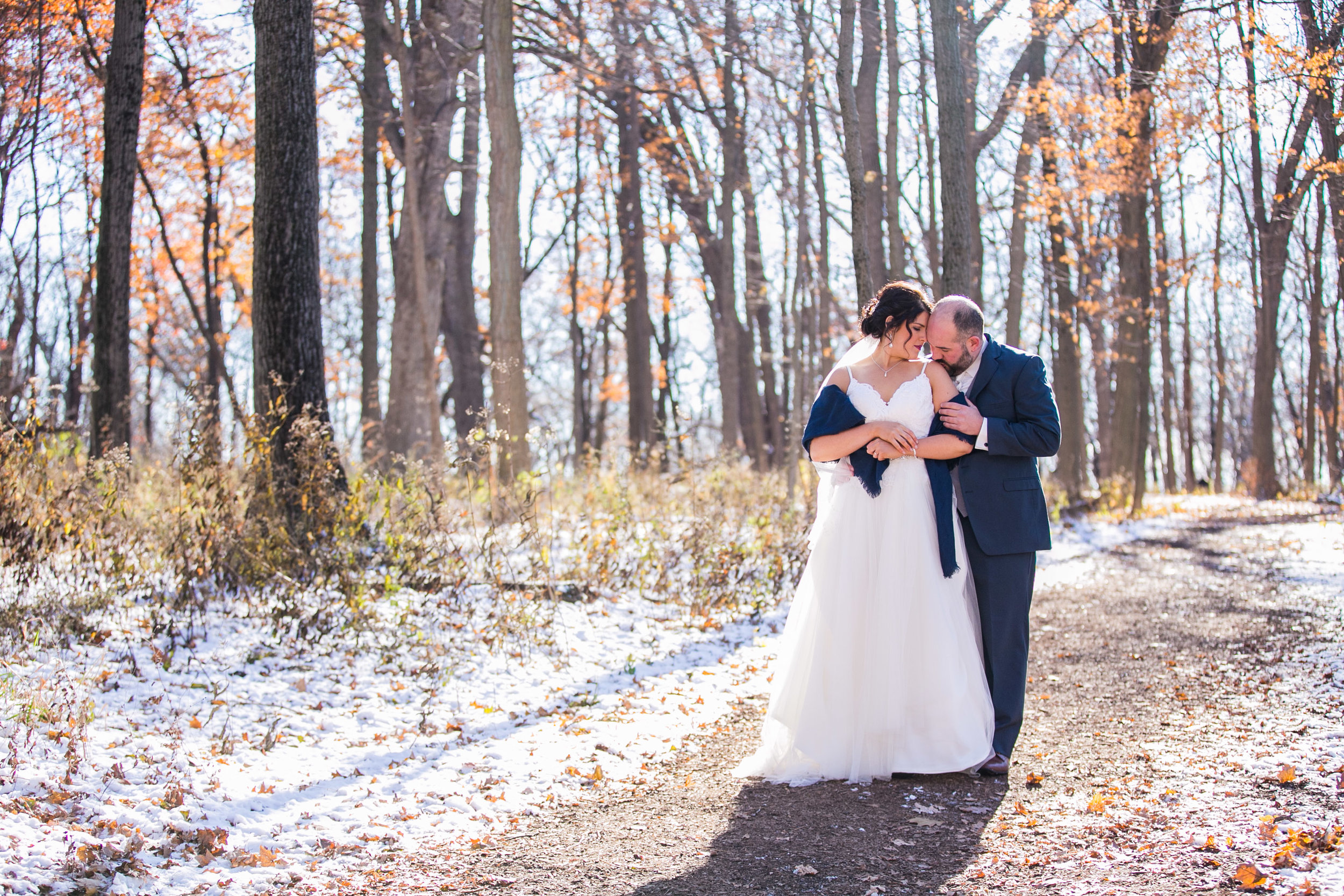 bride and groom posing outdoors during winter