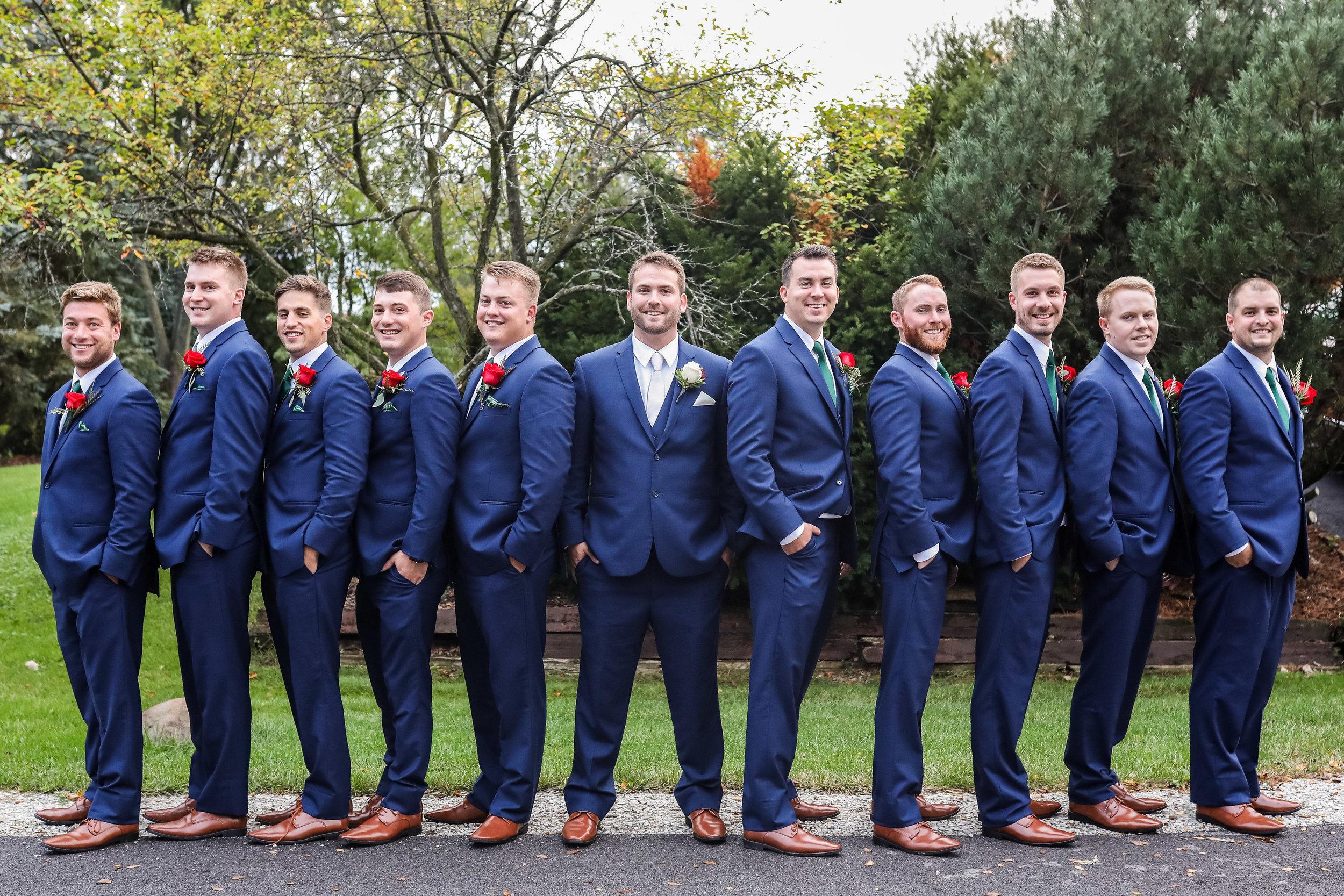 groomsmen group shot outdoors