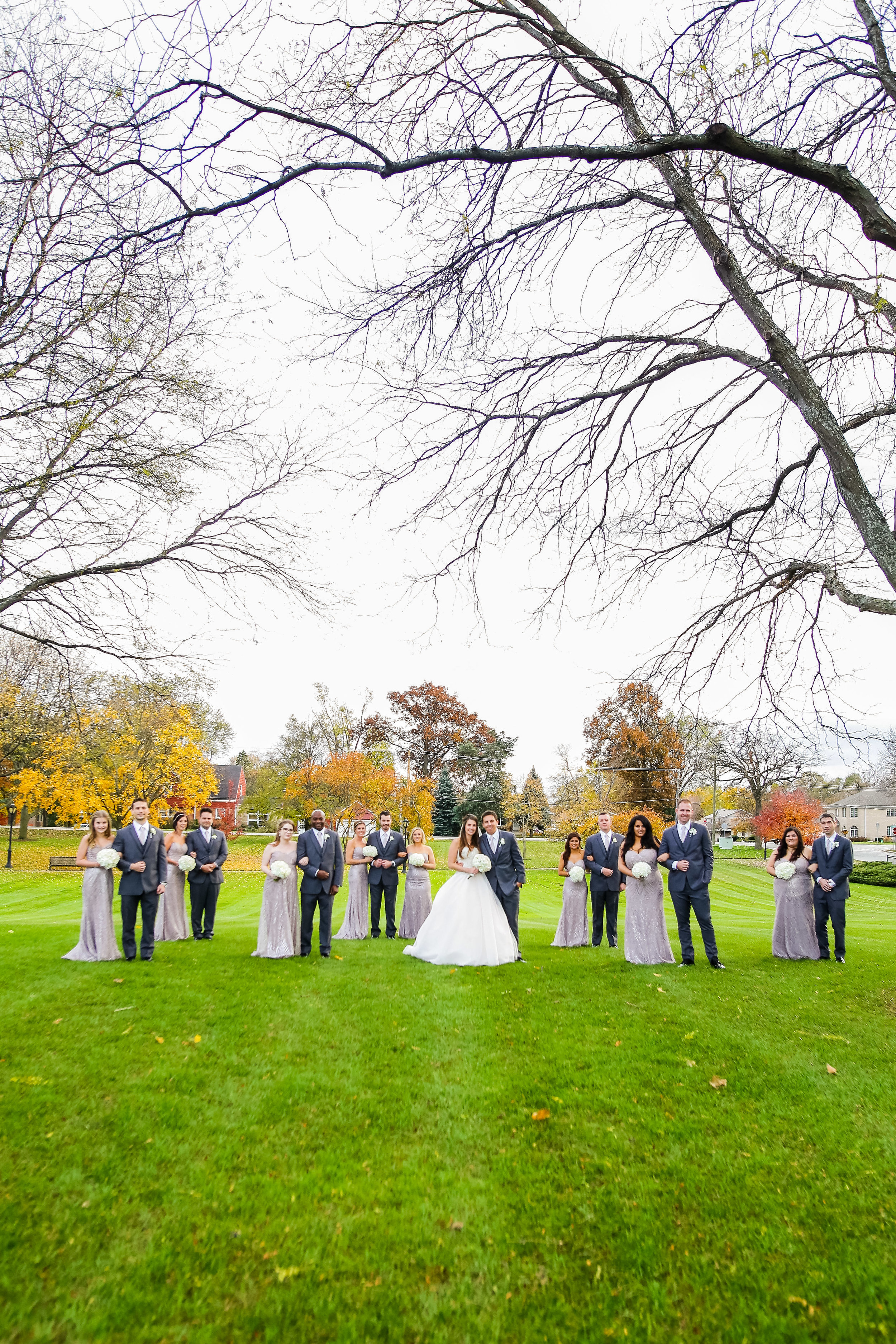 outdoor group shot with bridal party and bride and groom
