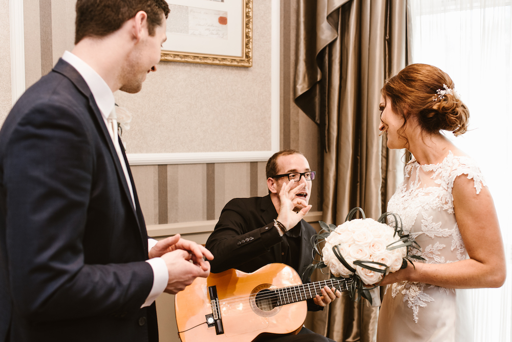 Playing in a wedding in the Westin Hotel.