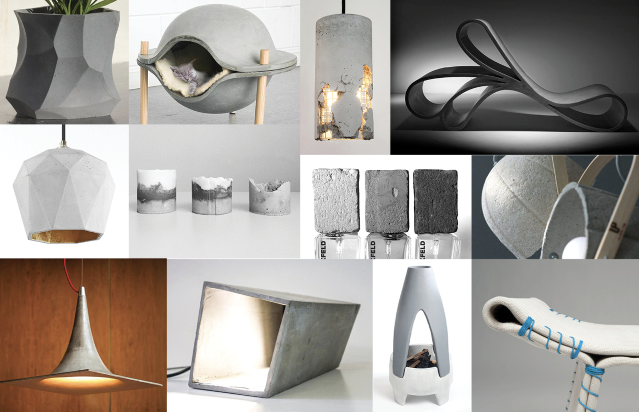 Concrete mood board created to evaluate the physical limitations of concrete and different applications