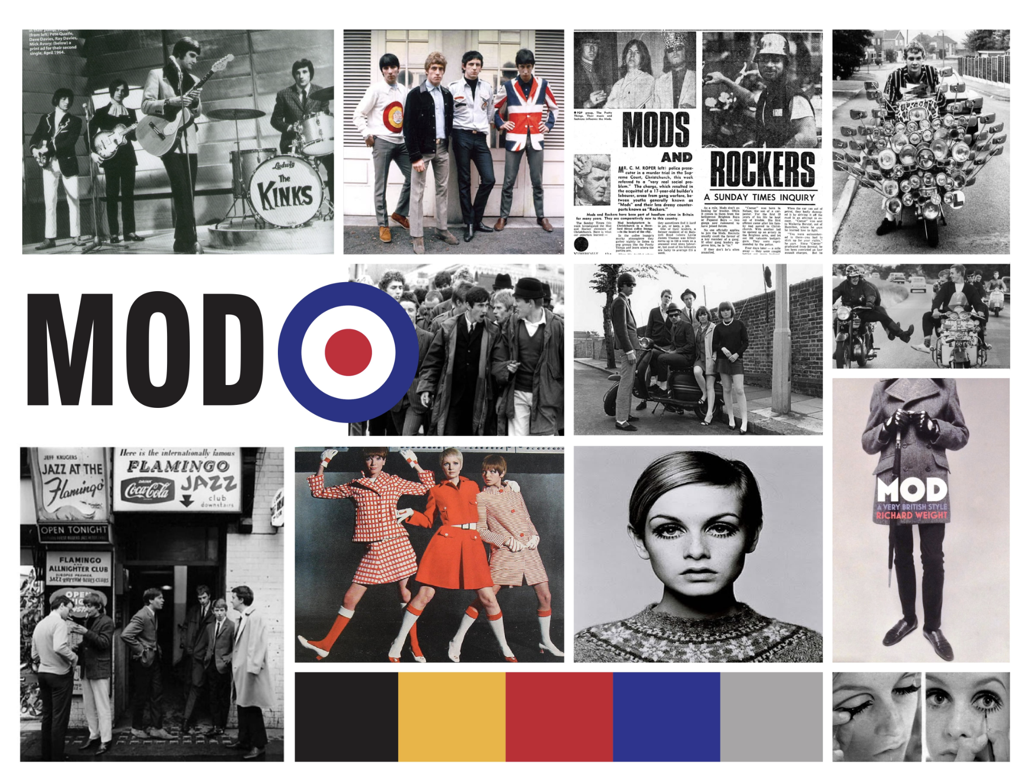 Mod themed mood board was created to determine common themes of the time period