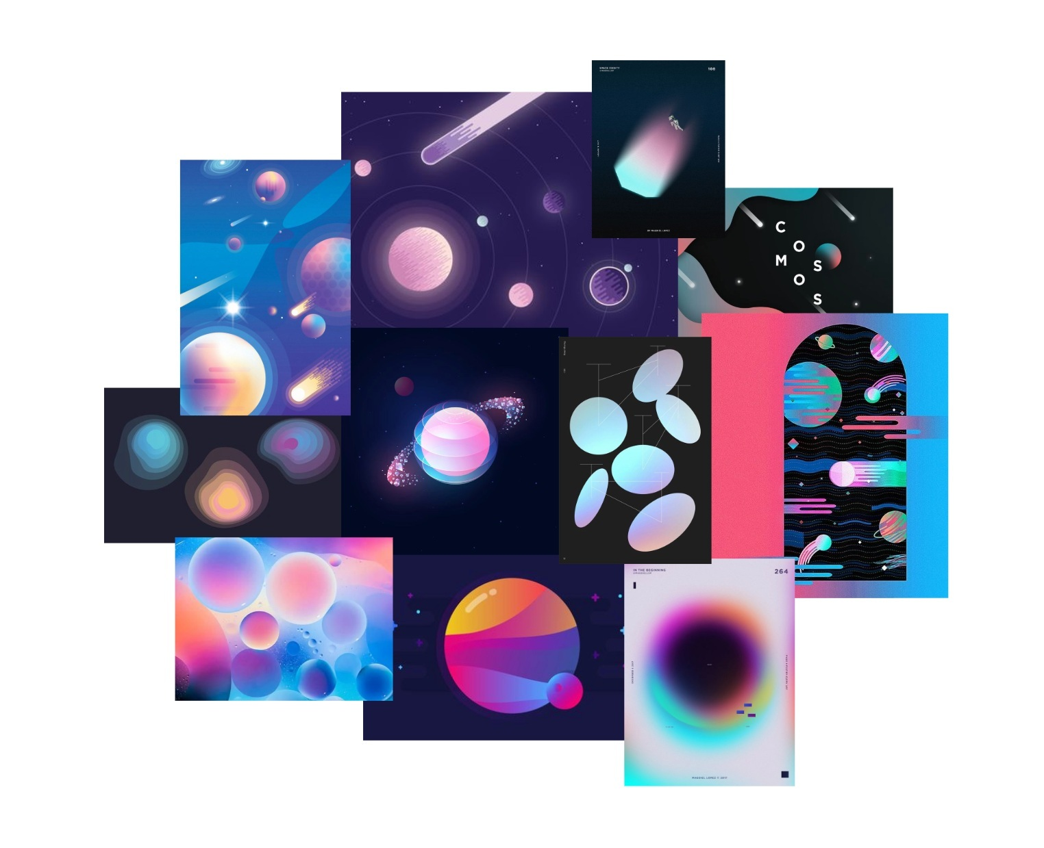 Gradient and multicolor space precedent images for overall toy theme.