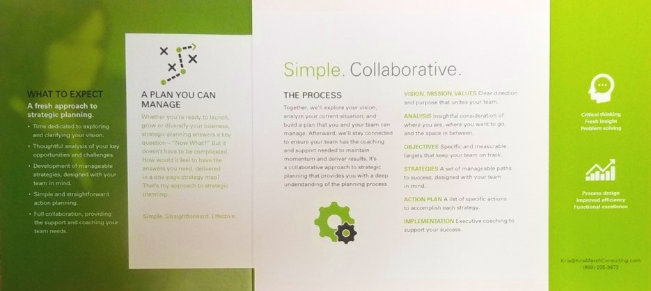 Communicate the value proposition of a complex subject in just a few paragraphs. That was our challenge for this strategic planning brochure. We collaborated with AMPM on the creative tri-fold square design. We completed the piece with compelling copy, images and graphic icons.