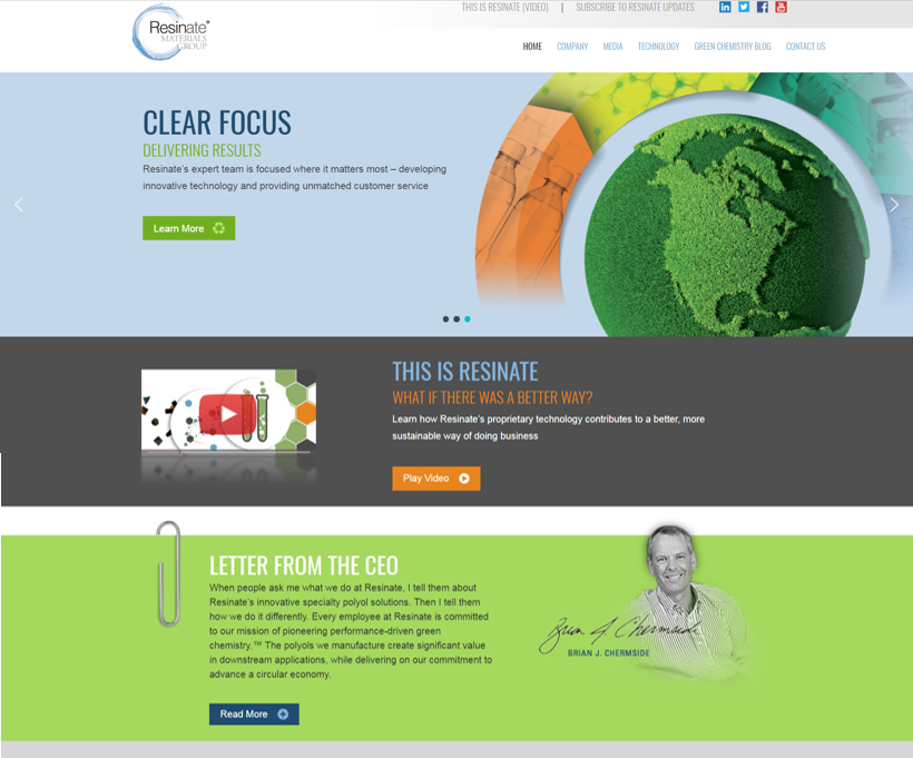 Custom Website - We collaborated with our friends at AMPM for this website, providing brand direction for a custom web template. We then sprang into action, writing compelling copy and developing mixed media content to populate the site. Based on our knowledge of chemical industry decision makers, we created content that educates and moves prospects through the buying cycle. It's easy being green (chemistry)! resinateinc.com