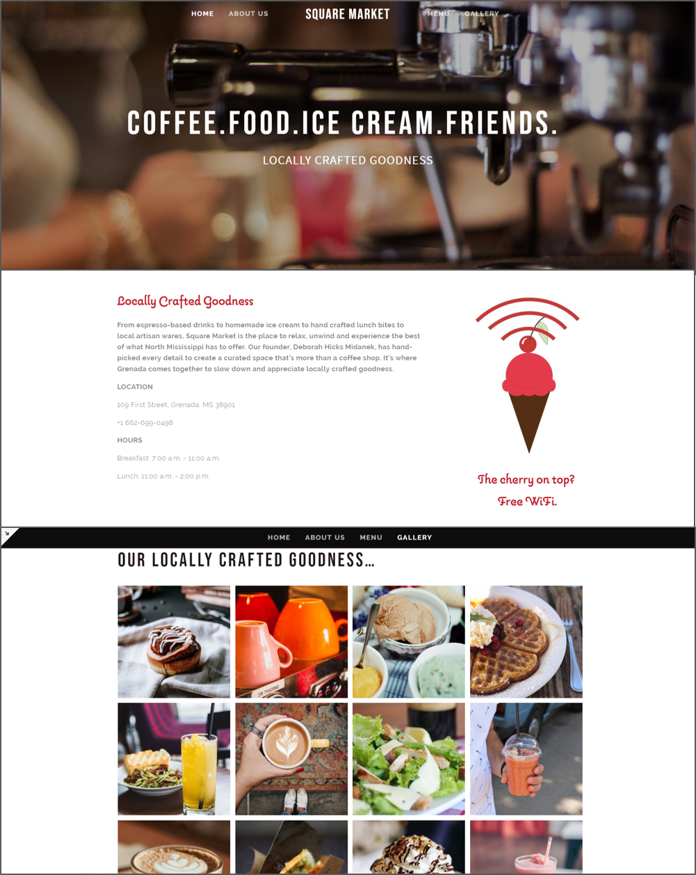 Tasteful Presence - What's sweeter than ice cream? A local coffee shop, destined to be a gathering place for local artisans and foodie entrepreneurs. With an open mind to where Square Market's local artisan market could go, we designed a logo, icon set and website on a Locally Crafted Goodness concept. Because, we knew one thing for sure. Whatever food and art landed at Square Market, it would be locally crafted and it would be good!SquareMarketGrenada.com