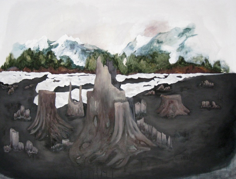 """Snoqualmie Pass.  Oil and Graphite on canvas, 36 x 48""""."""