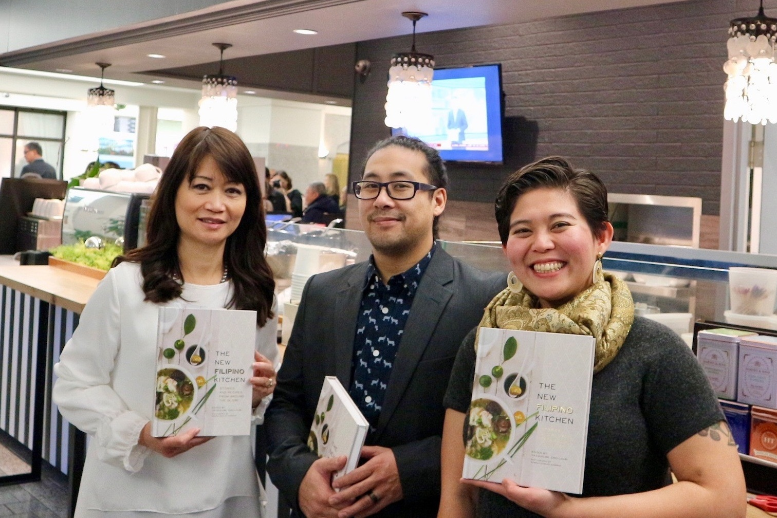"At ""The New Filipino Kitchen"" book launch with editor Jacqueline Chio-Lauri and chef Allan Pineda."