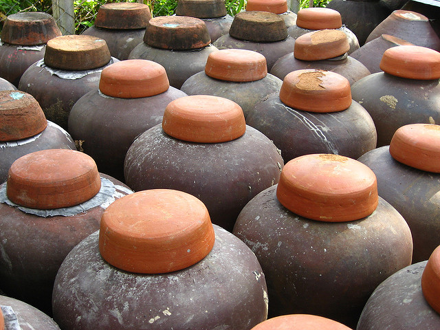 Traditional earthenware jars where bási is left to ferment, taken near Laoag City, Ilocos Norte, Philippines.    Photo    by erasmusa /    CC BY 2.0   .