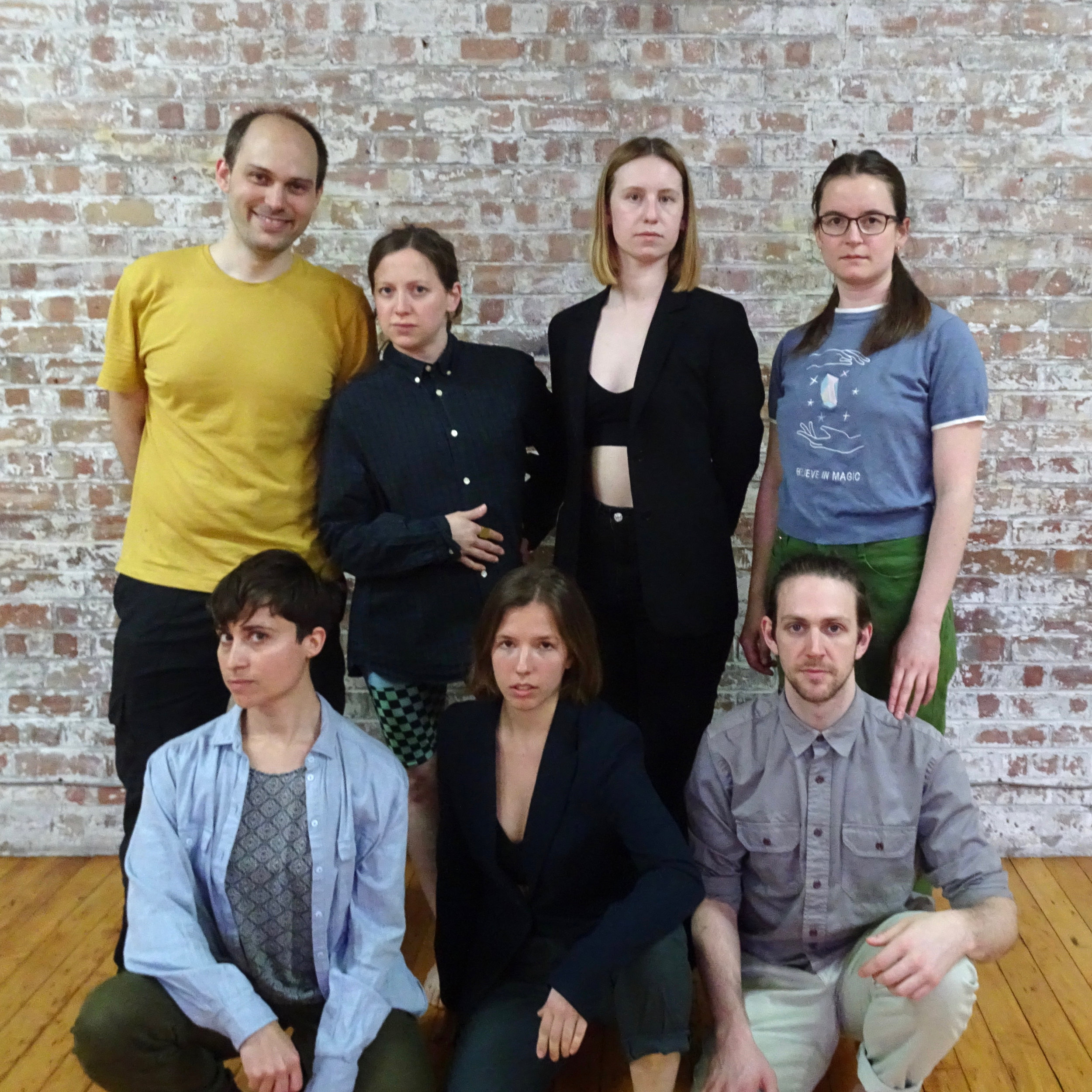 Roadhouse #1, 18 May 2019, Chisenhale Dance Space, London. Clockwise from top left: Michael Picknett (technician), Stephanie McMann, Hannah Parsons, Eleanor Sikorski, Lewys Holt, Lorea Burge Badiola, Charlie Ashwell (writer). Photo by Amarnah Ufuoma Amuludun.
