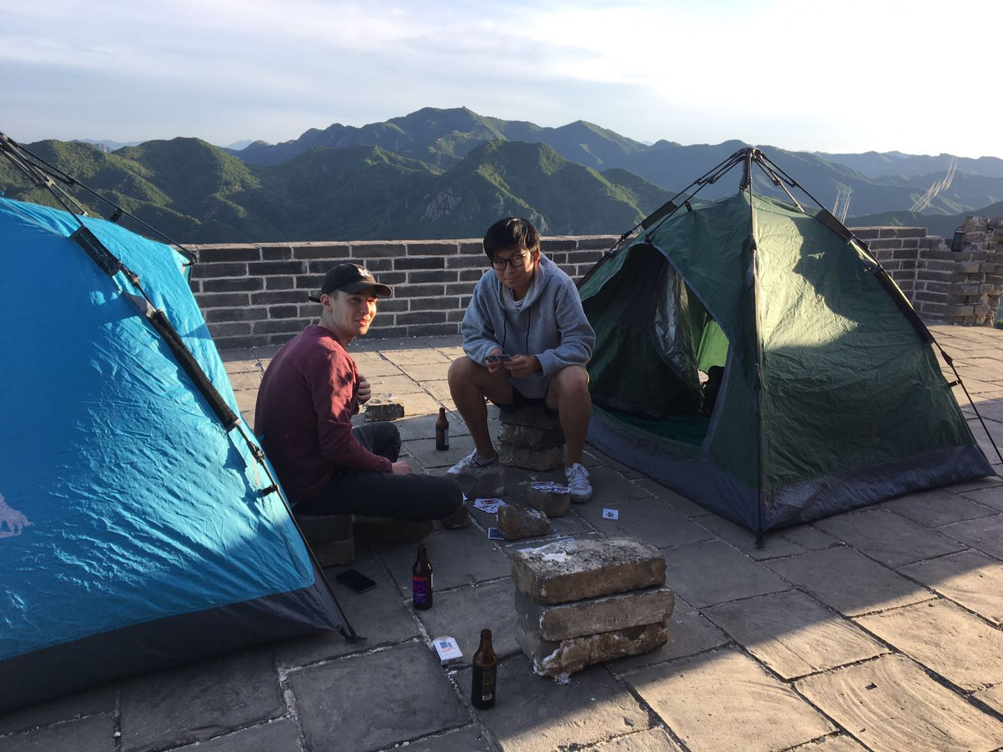 Playing some card games and waiting for the sunset at our campsite (featuring two star EF employees: Myles Quinn and Bobby Zhang)