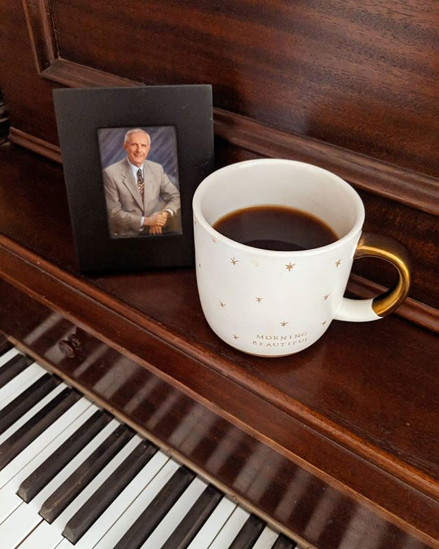 """One of my favorite things is hearing Ash play her piano and sing. I love hearing her because she is an amazing singer, but also because I know it is cathartic for her. She keeps a picture of her Papaw on the piano. He passed a few years ago and playing the piano reminds her of him and how much he loved music. Sometimes our culture runs away from sadness. But sometimes it is healthy to sit and allow yourself to feel those emotions as it reminds you of the love and life you shared with special people. -Tim ◾◾◾◾◾◾◾◾◾◾◾◾◾◾◾◾ Be sure to read my latest blog """"Your Emotions Are Valid, But..."""" by clicking on the link in our bio or going to OurLittleRomance.com ◾◾◾◾◾◾◾◾◾◾◾◾◾◾◾◾ #marriedwithkids #marriedforlife #marriagematters #loveyourspouse #relationshipmatters #relationshiptips #beating50percent #marriage365 #howwemarriage #marriageworks #marriedtomybestfriend #marriagetips #familyfun #inlove #dad #selfcare #piano #playingpiano #coffee #grandpa #papaw #music #musically"""