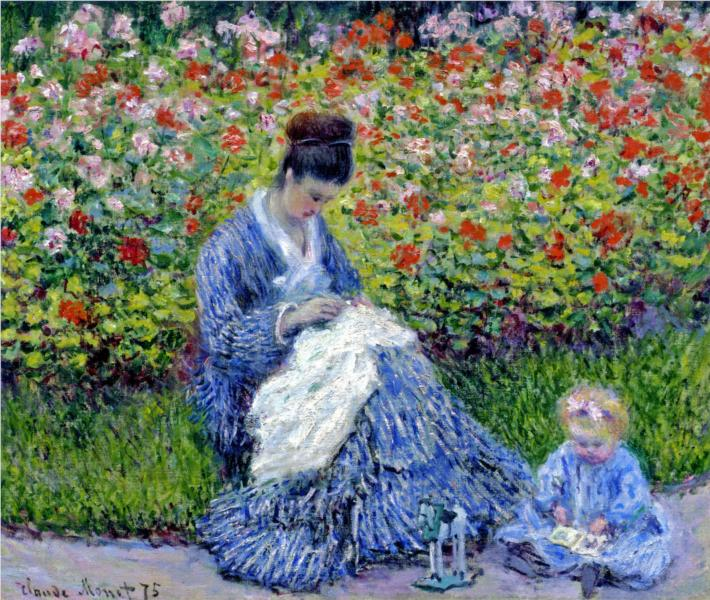 Camille Monet and a Child in the Artist's Garden in Argenteuil – Claude Monet