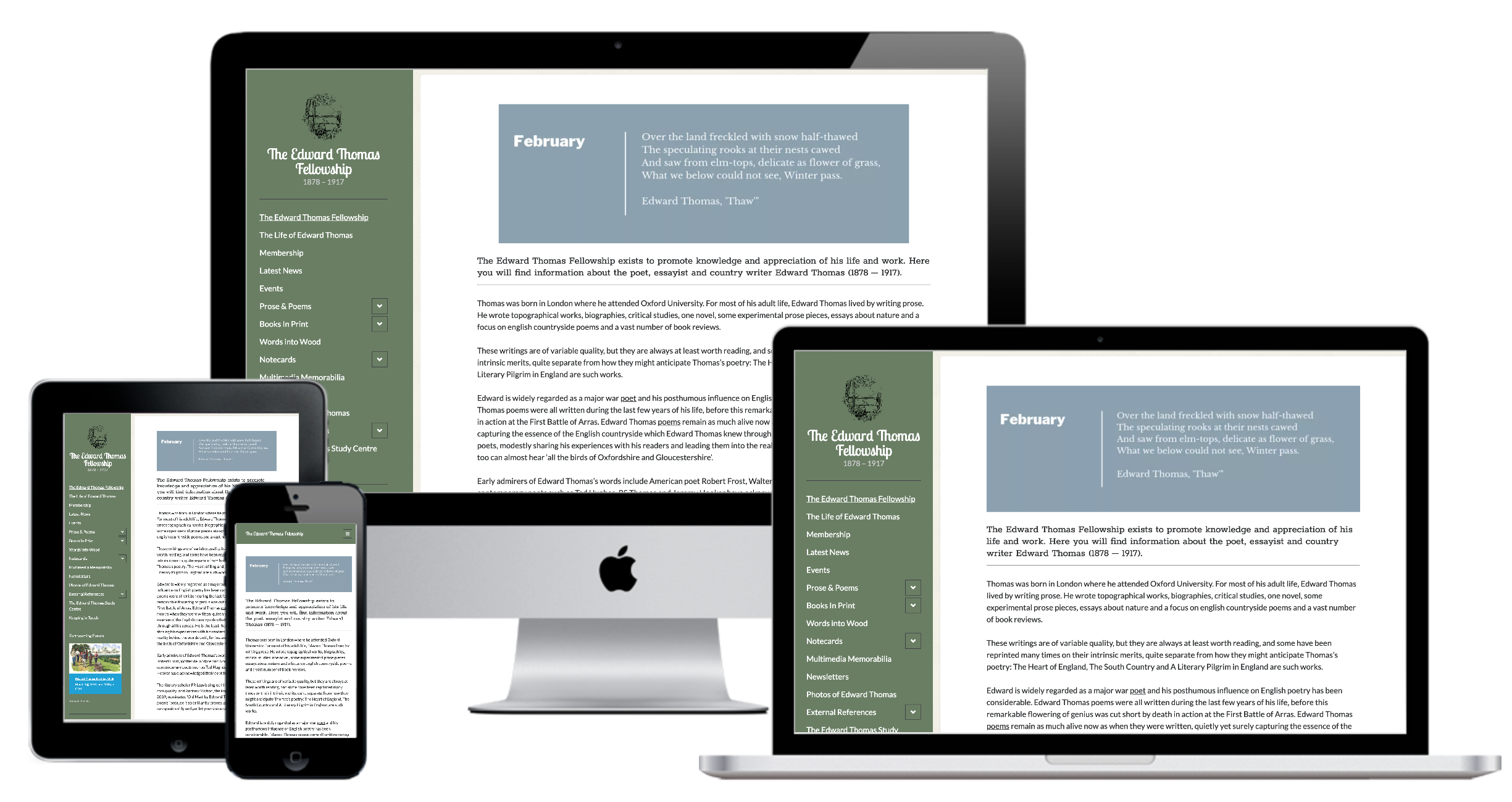 A Website Fit for a Poet - The Edward Thomas Fellowship commissioned McGinn & Dolphin to revamp their website and bring it up to date. To find out more about the Website Design solution we put in click here.