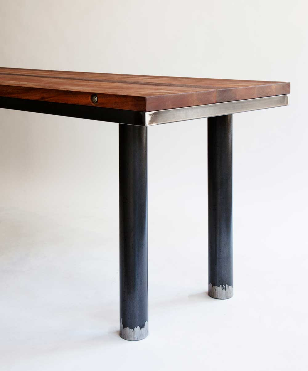 mahogany and steel with a lacquer finish