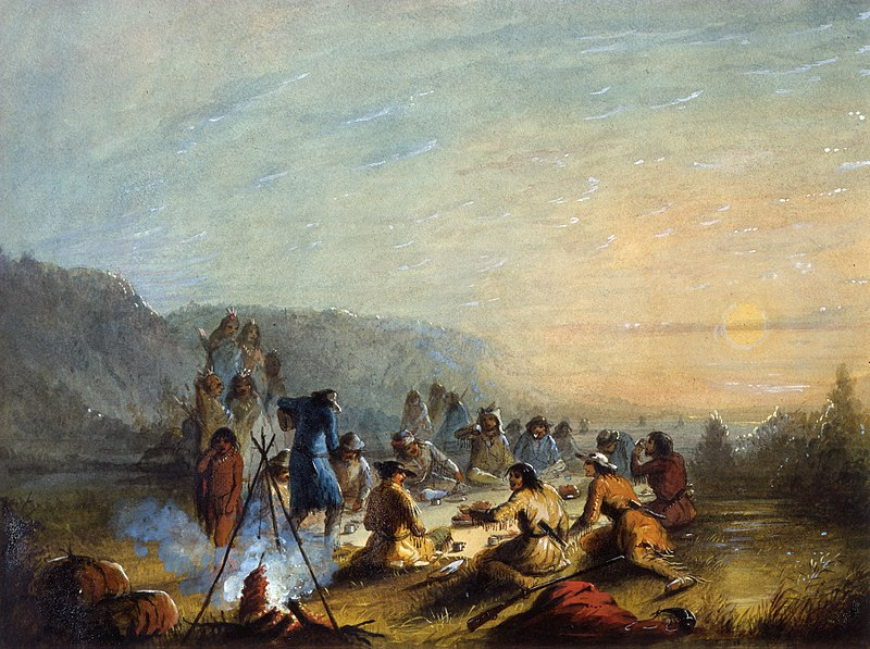 """This Alfred Jacob Miller painting is titled """"Breakfast at Sunrise"""" and offers a rare glimpse at trapper life. Image via  wikicommons."""