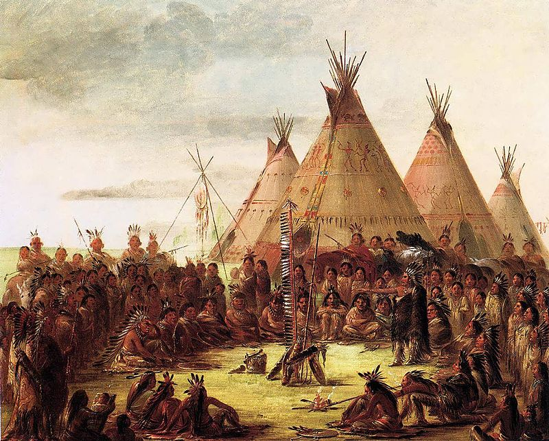 Painted by George Catlin in 1850. Image via Wikicommons: https://commons.wikimedia.org/wiki/George_Catlin#/media/File:Catlinpaint.jpg